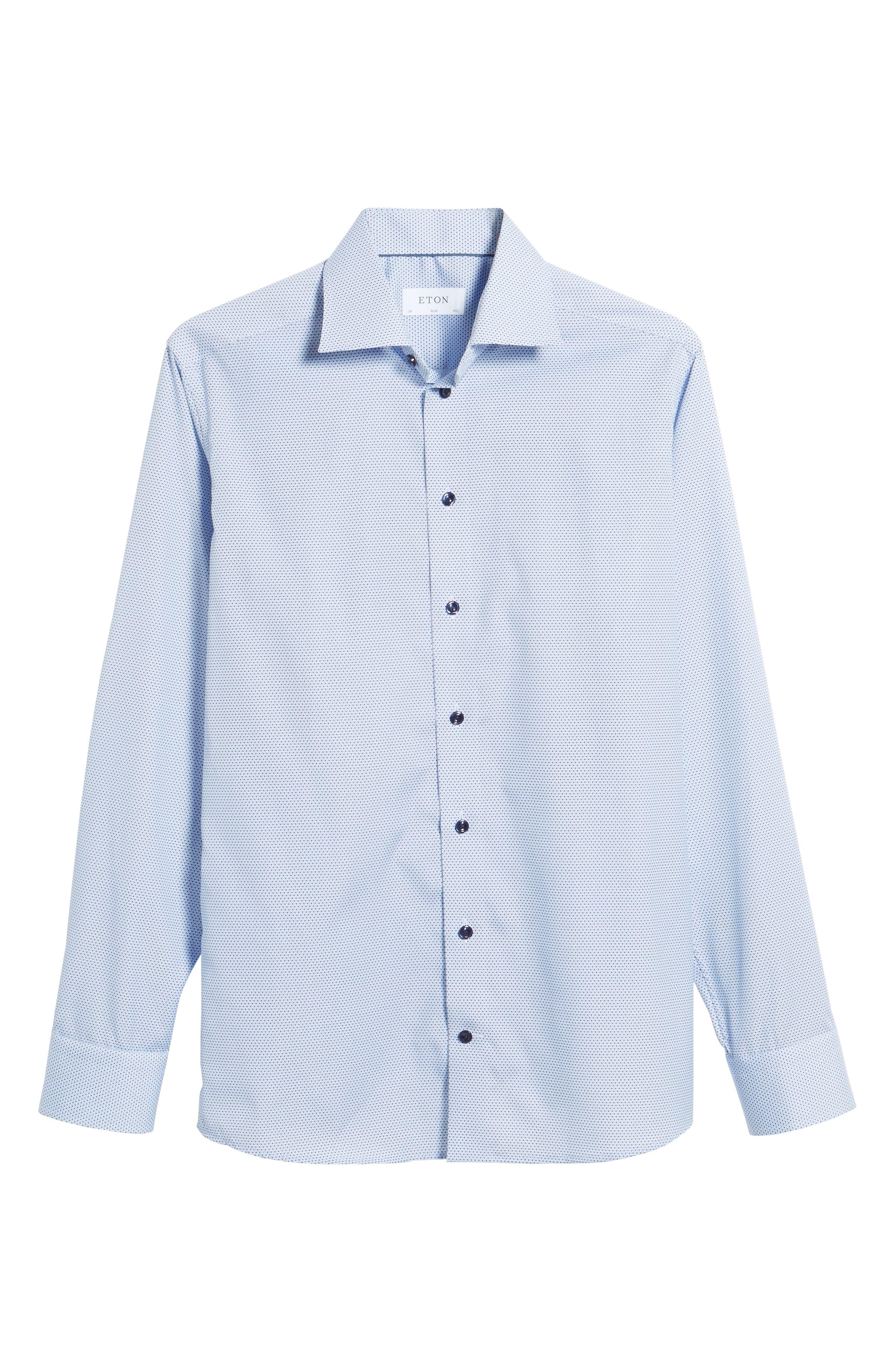 Slim Fit Microprint Dress Shirt,                             Alternate thumbnail 7, color,                             Blue