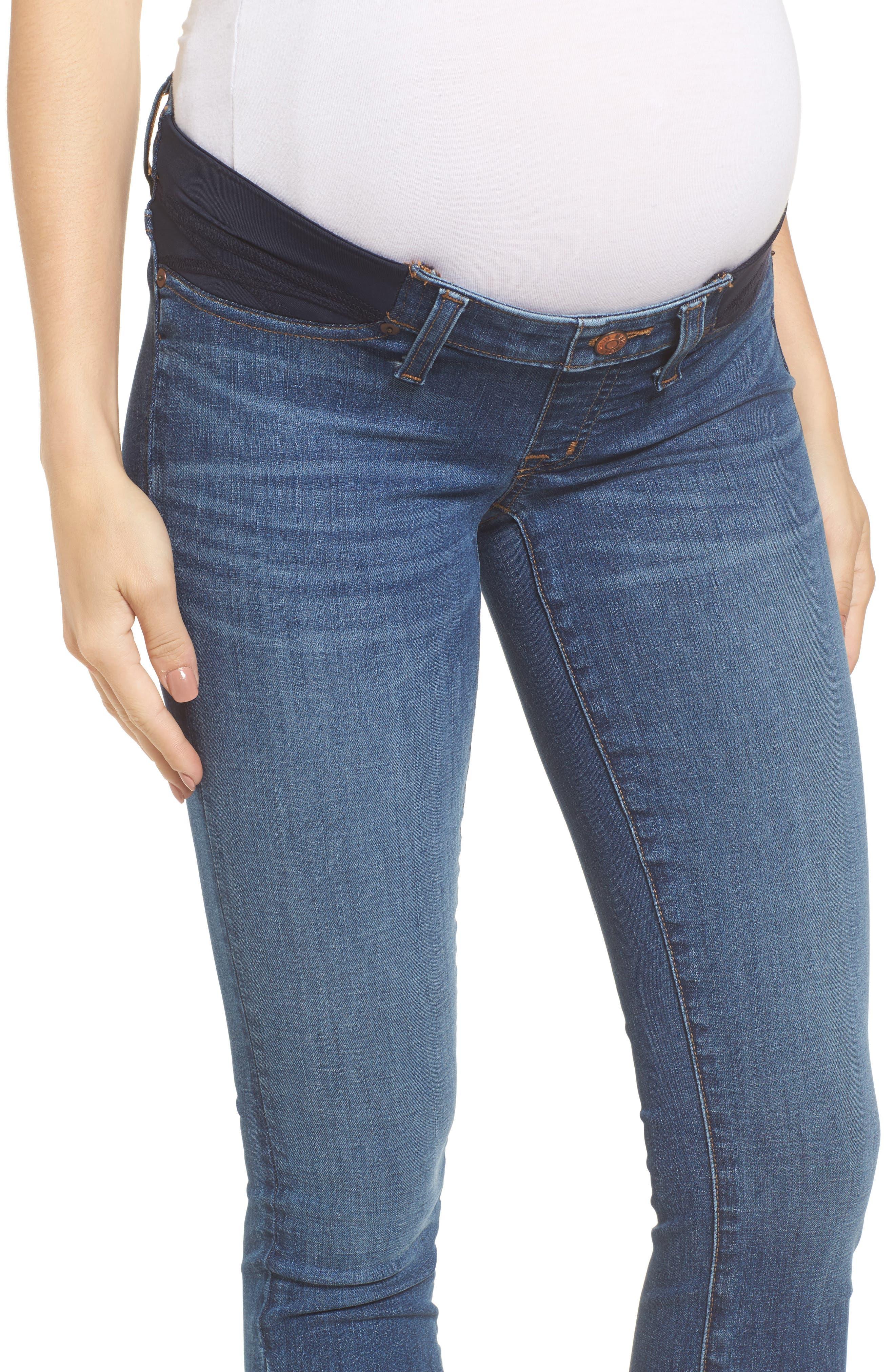 Maternity Skinny Jeans,                             Alternate thumbnail 4, color,                             Juliet Wash