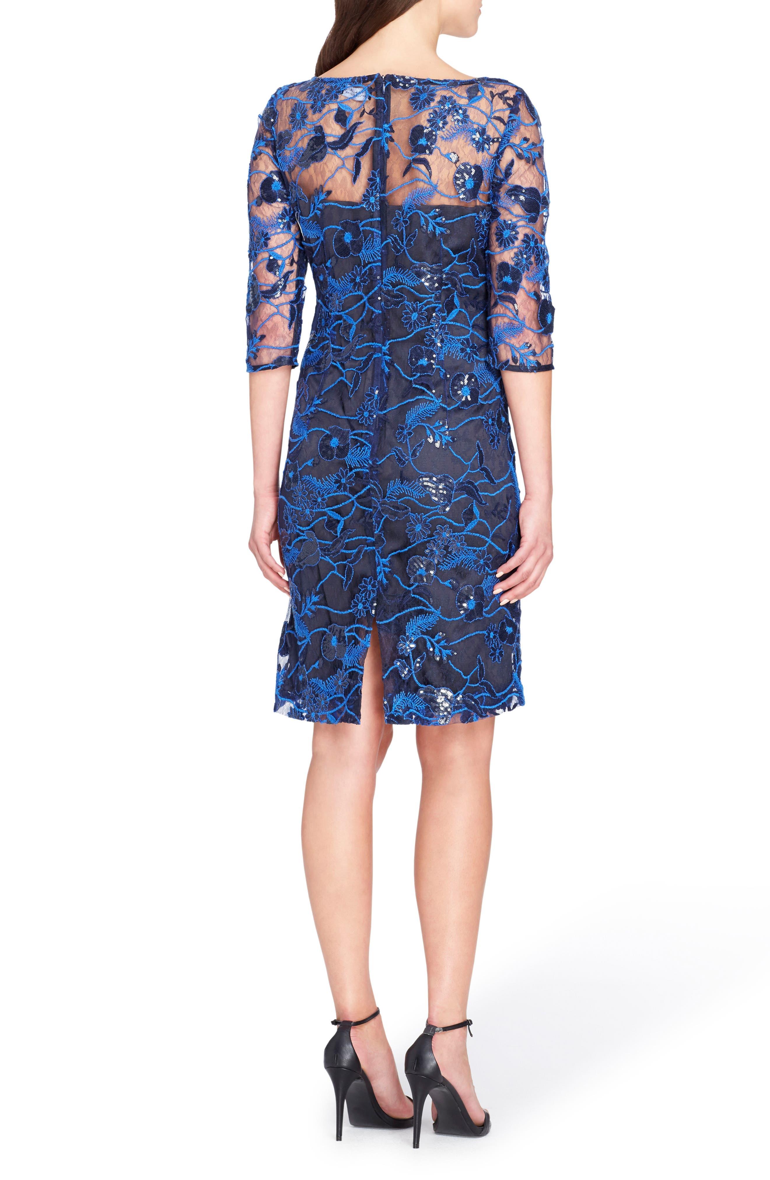 Illusion Lace Sheath Dress,                             Alternate thumbnail 2, color,                             Lapis/ Navy/ Black
