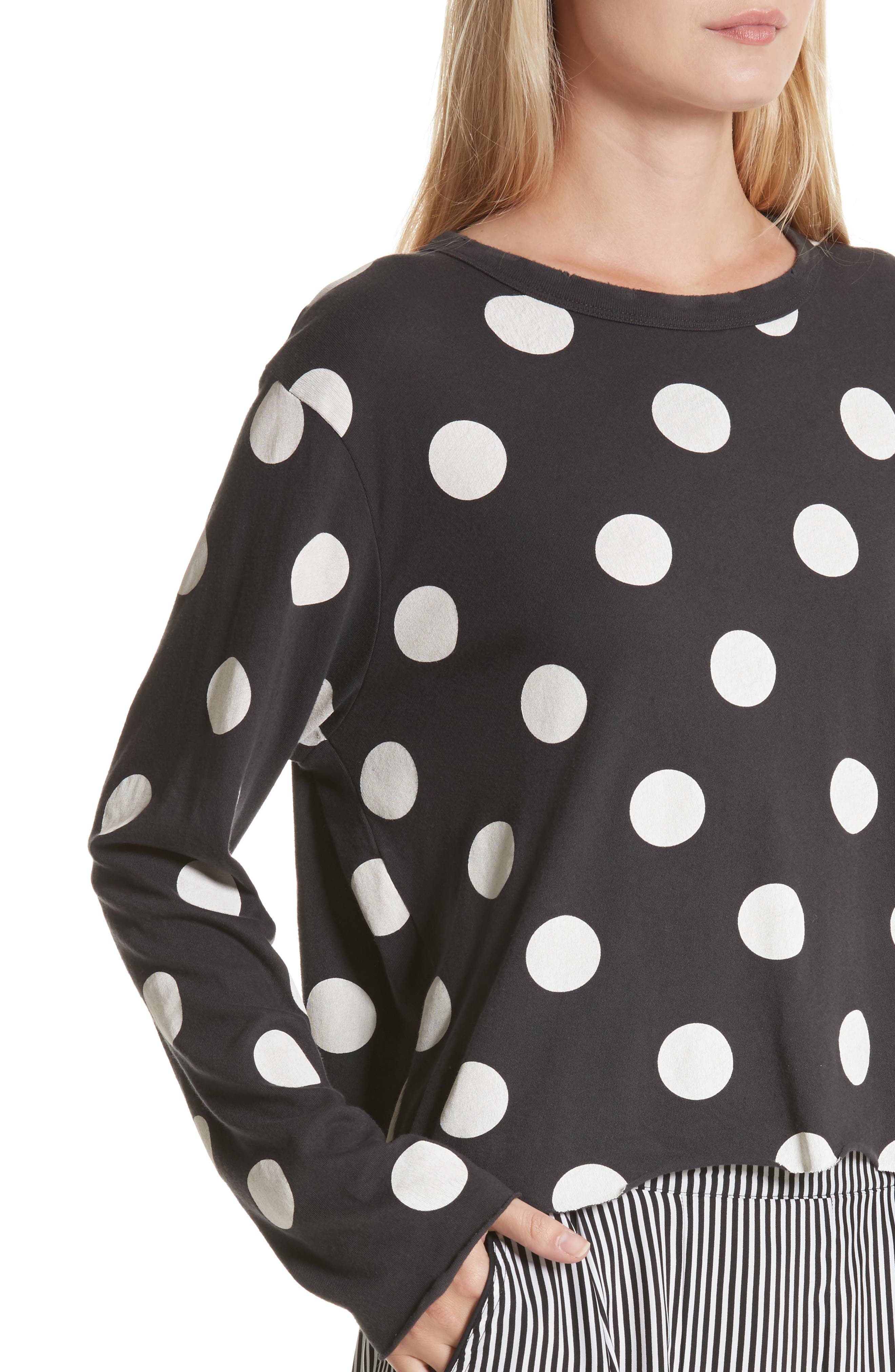 The Long Sleeve Crop Dot Print Tee,                             Alternate thumbnail 5, color,                             Washed Black White Dots