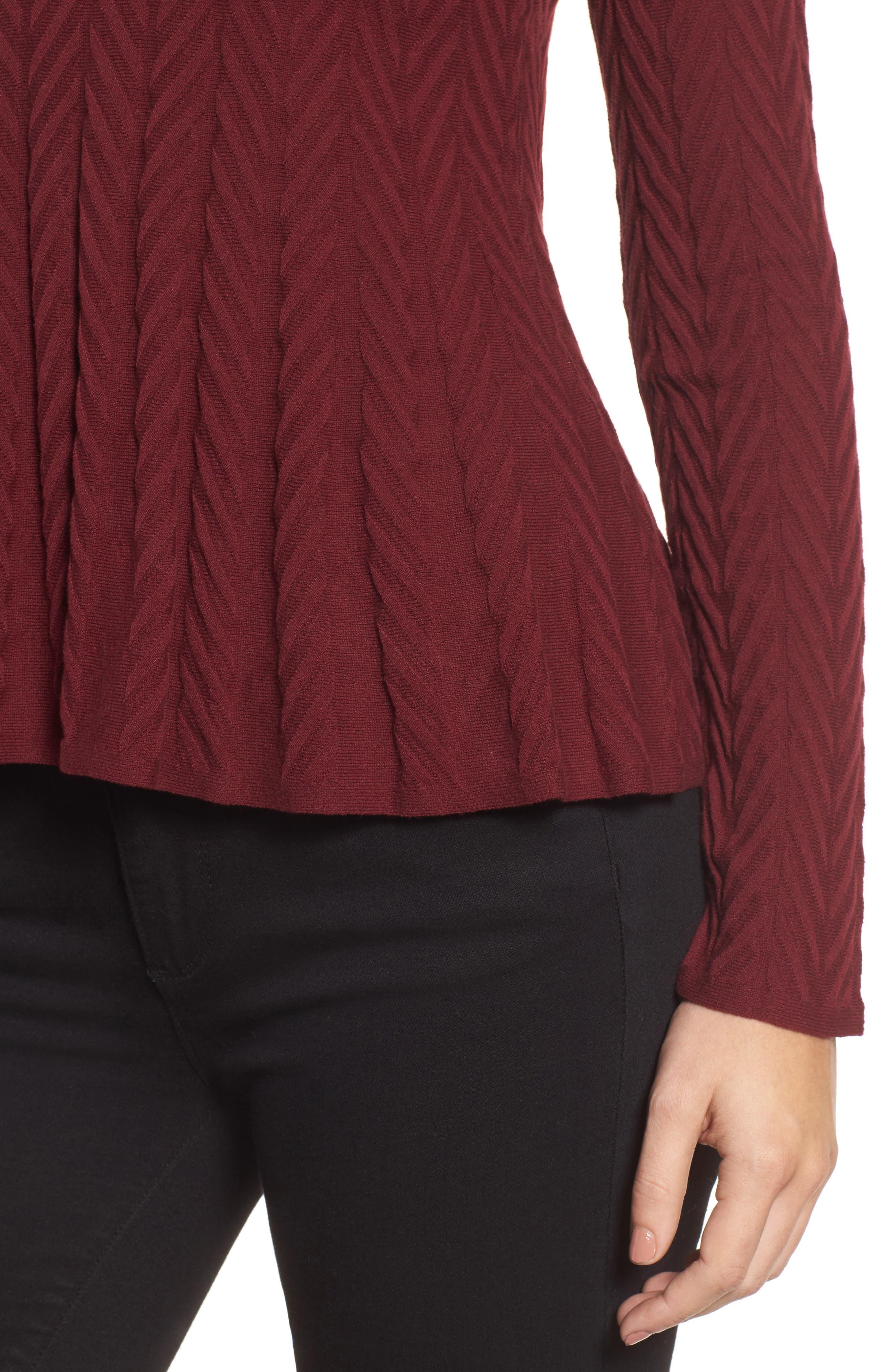 Alternate Image 4  - CeCe Chevron Stitch Sweater