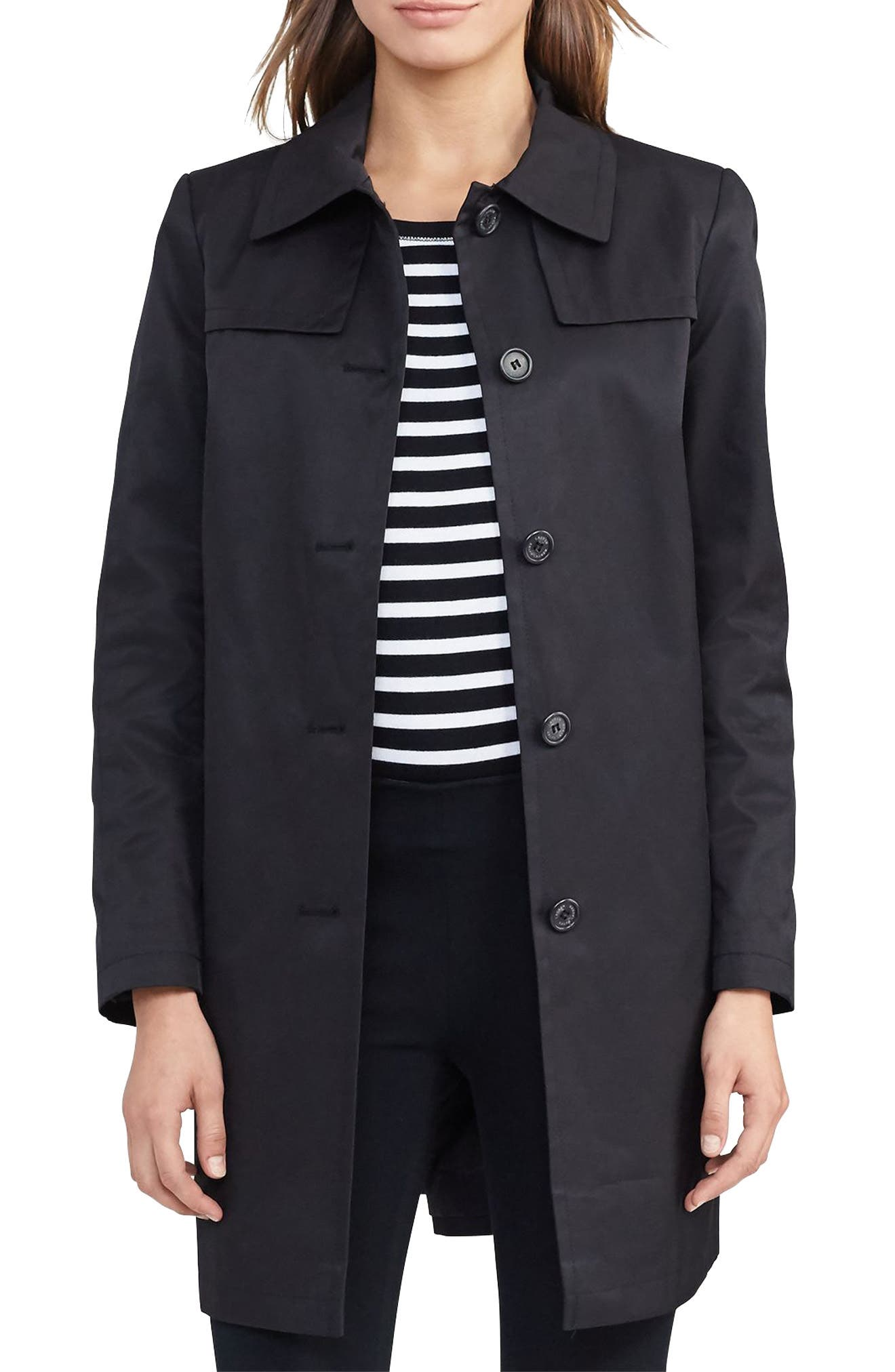 A-Line Trench Coat,                             Main thumbnail 1, color,                             Black