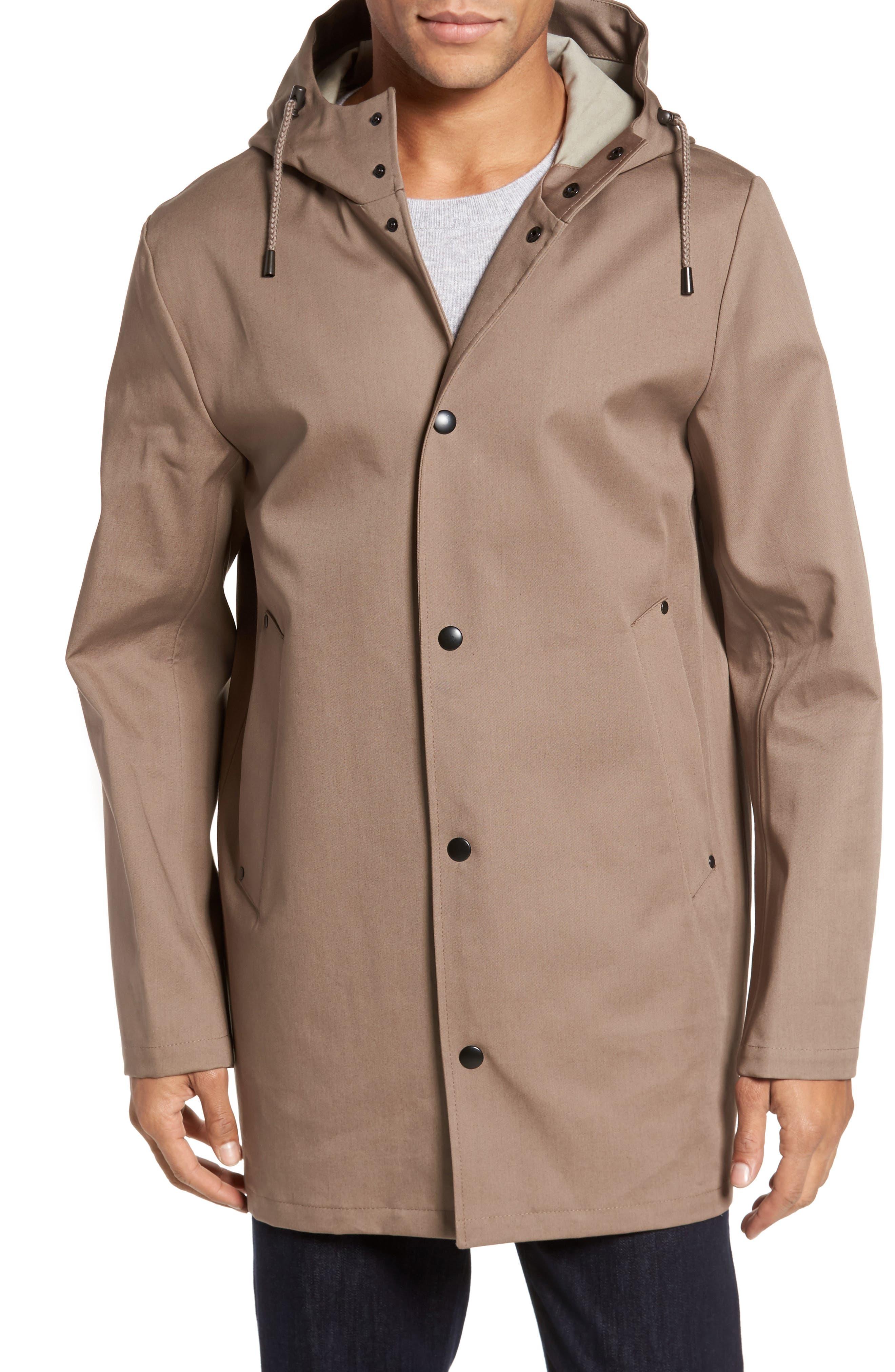 Stockholm Bonded Waterproof Hooded Raincoat,                             Alternate thumbnail 4, color,                             Mole