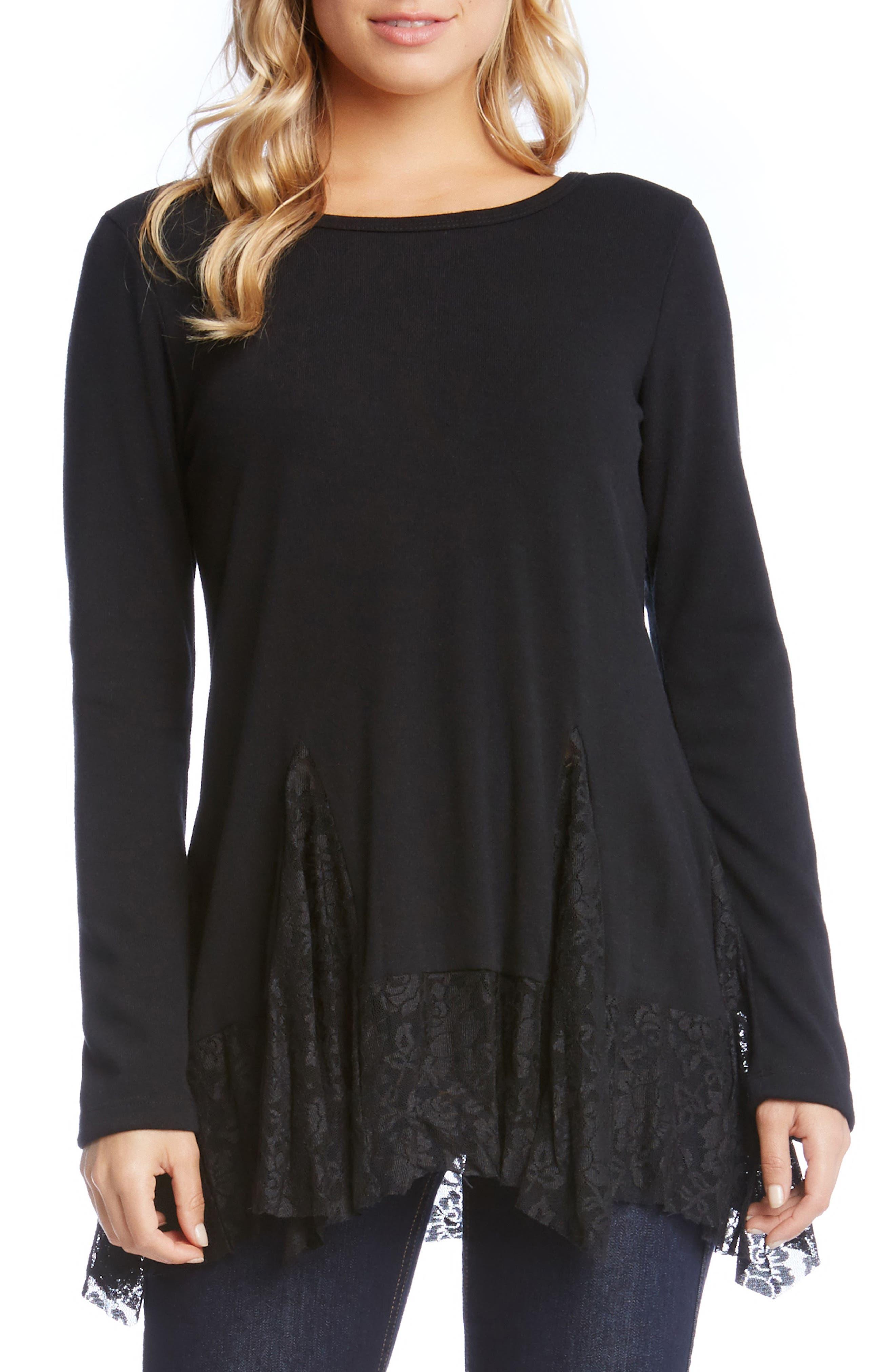 Karen Karen Lace Inset Sweater,                             Main thumbnail 1, color,                             Black