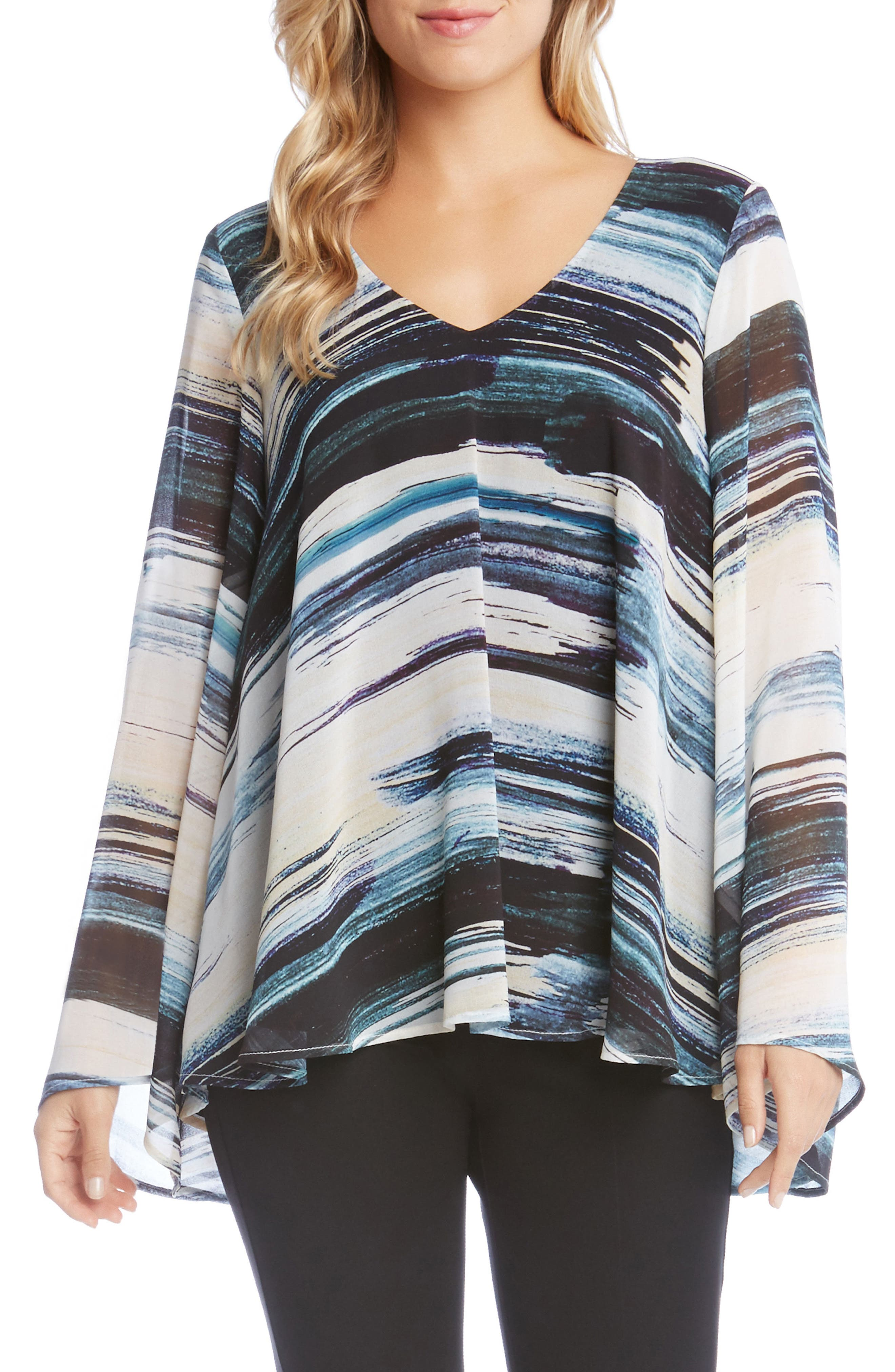 V-Neck Bell Sleeve Top,                         Main,                         color, Print