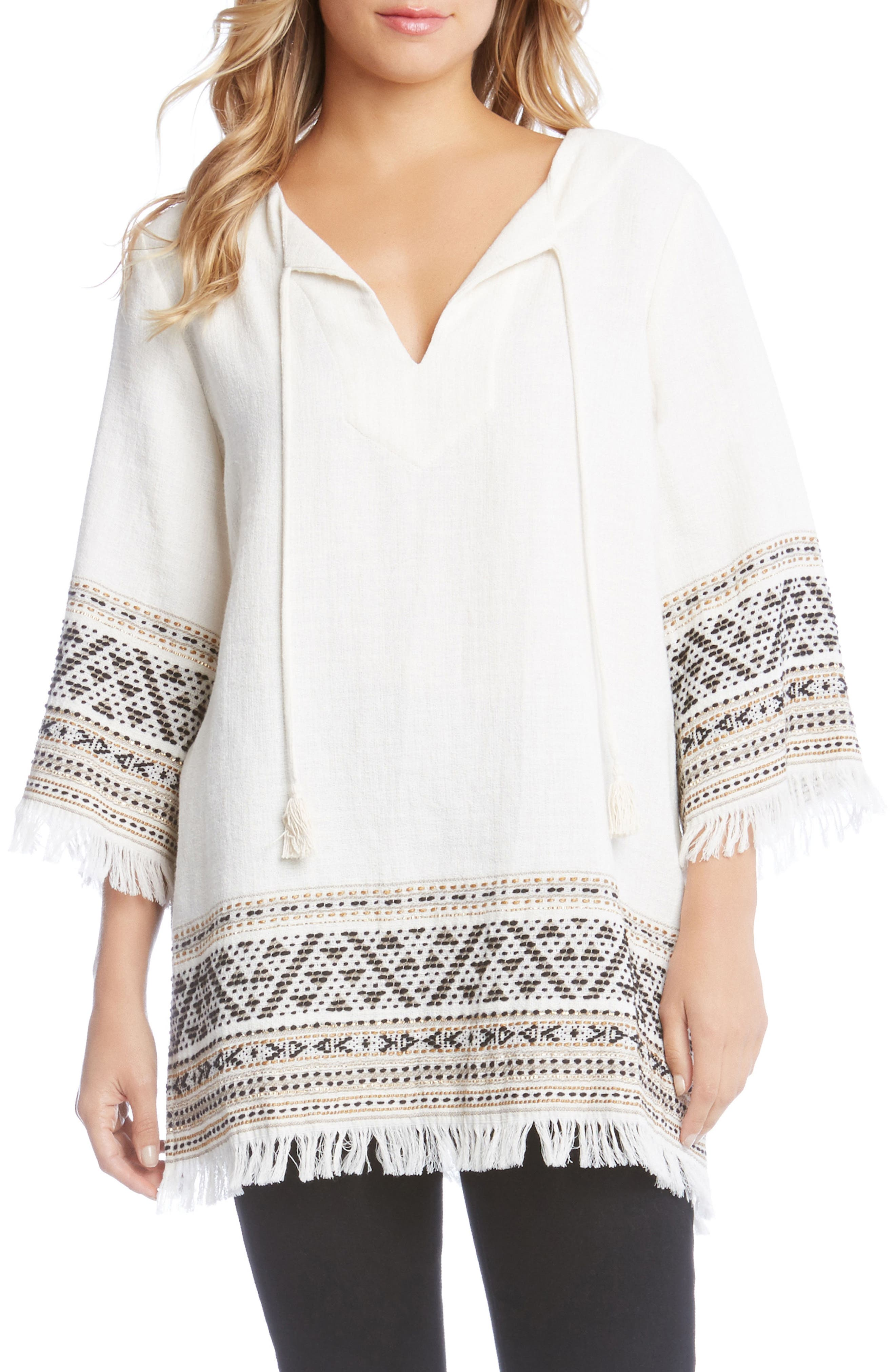 Embroidered Fringe Trim Tunic,                             Main thumbnail 1, color,                             Gold