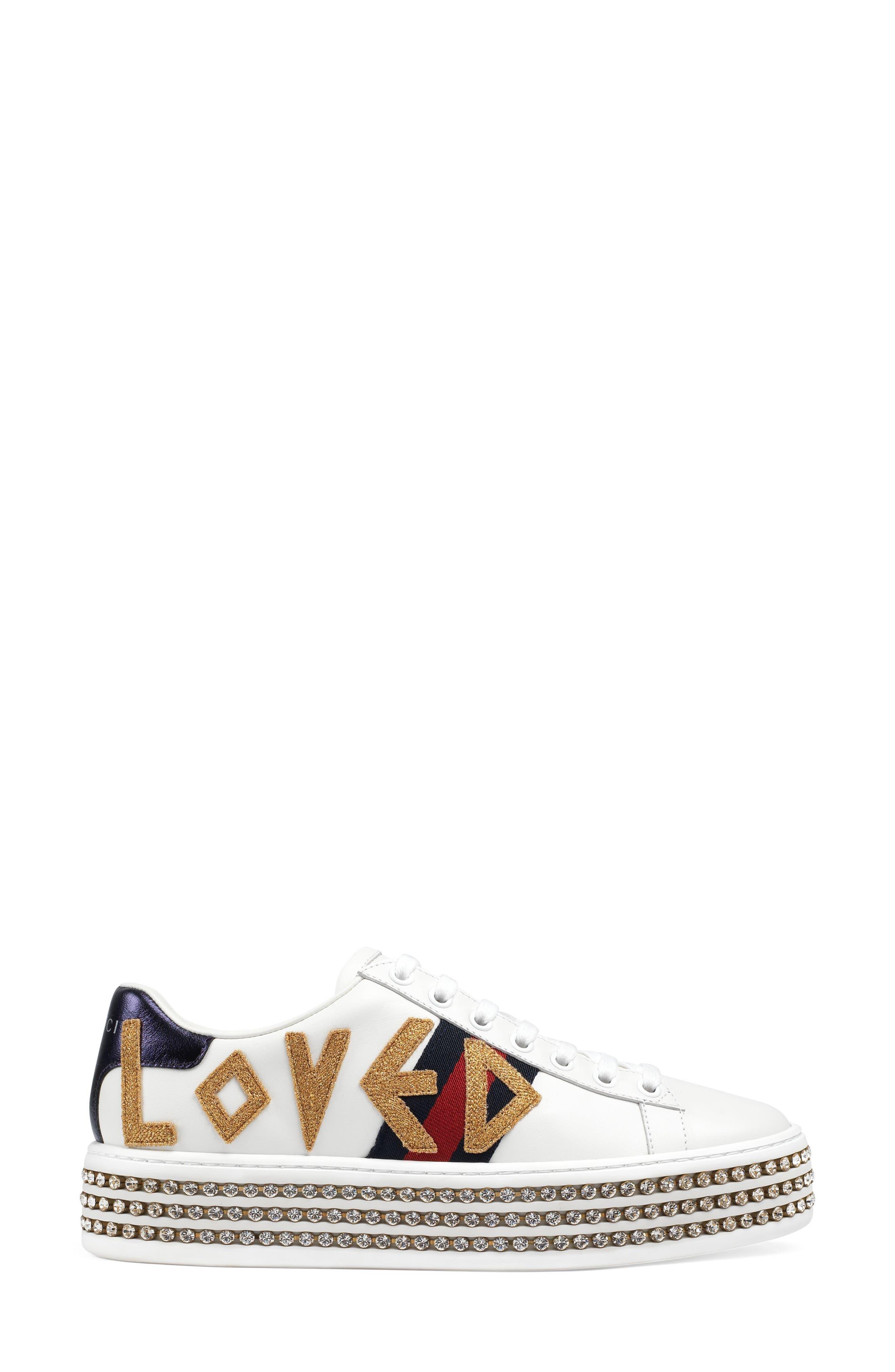 Alternate Image 2  - Gucci New Ace Crystal Embellished Flatform Sneaker (Women)