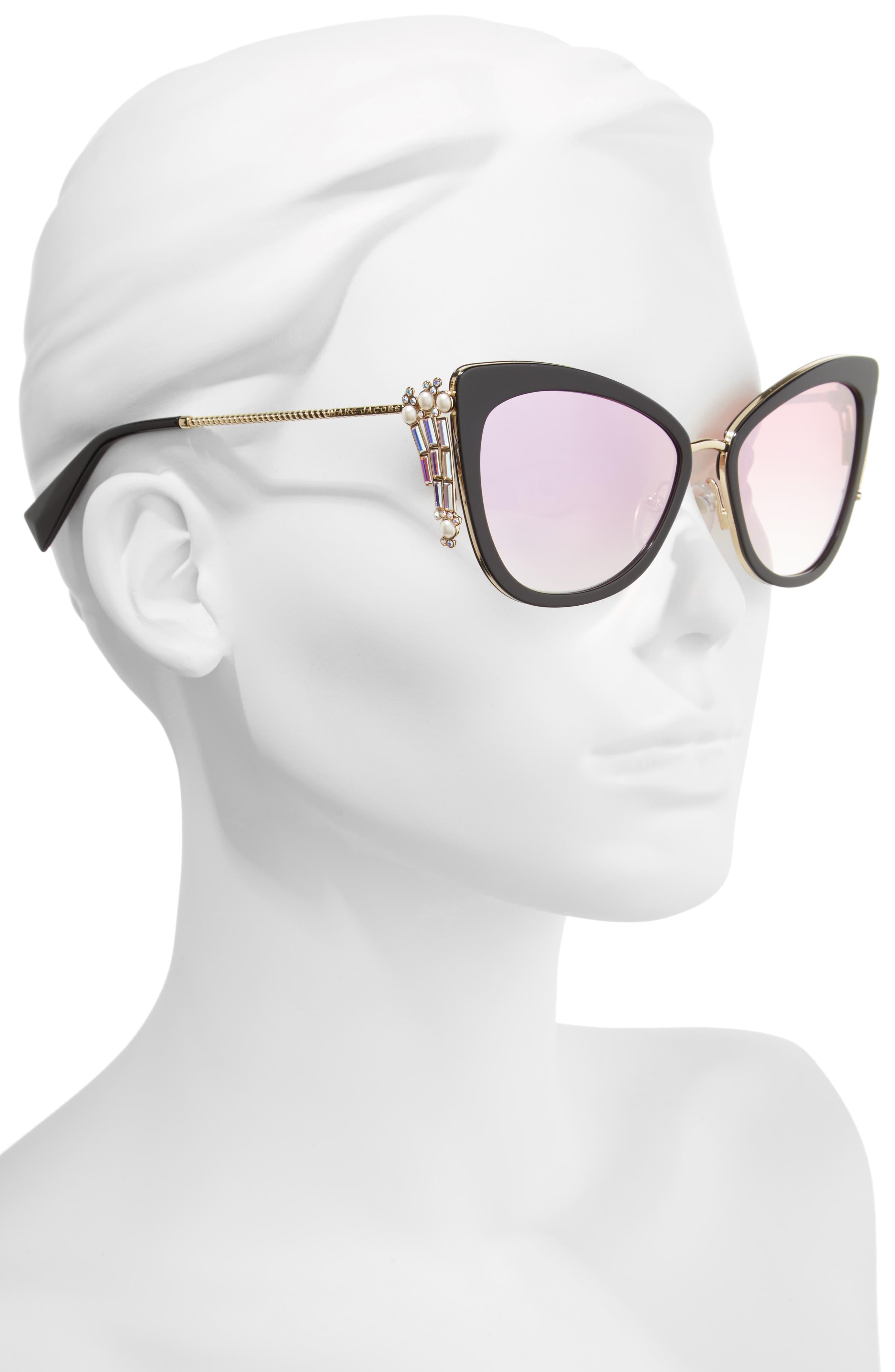 Embellished 56mm Cat Eye Sunglasses,                             Alternate thumbnail 2, color,                             Blue