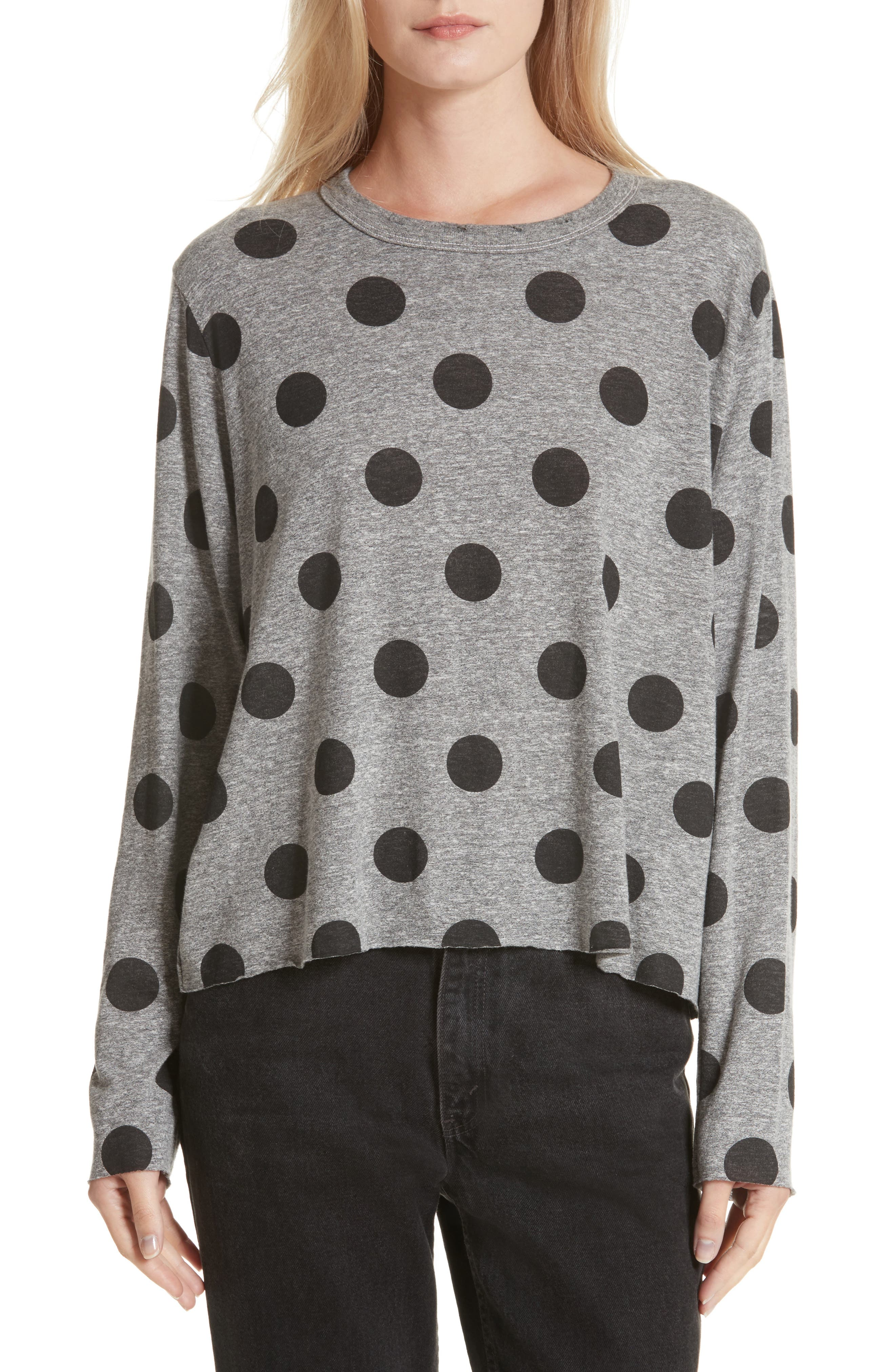 THE GREAT. The Long Sleeve Crop Dot Print Tee
