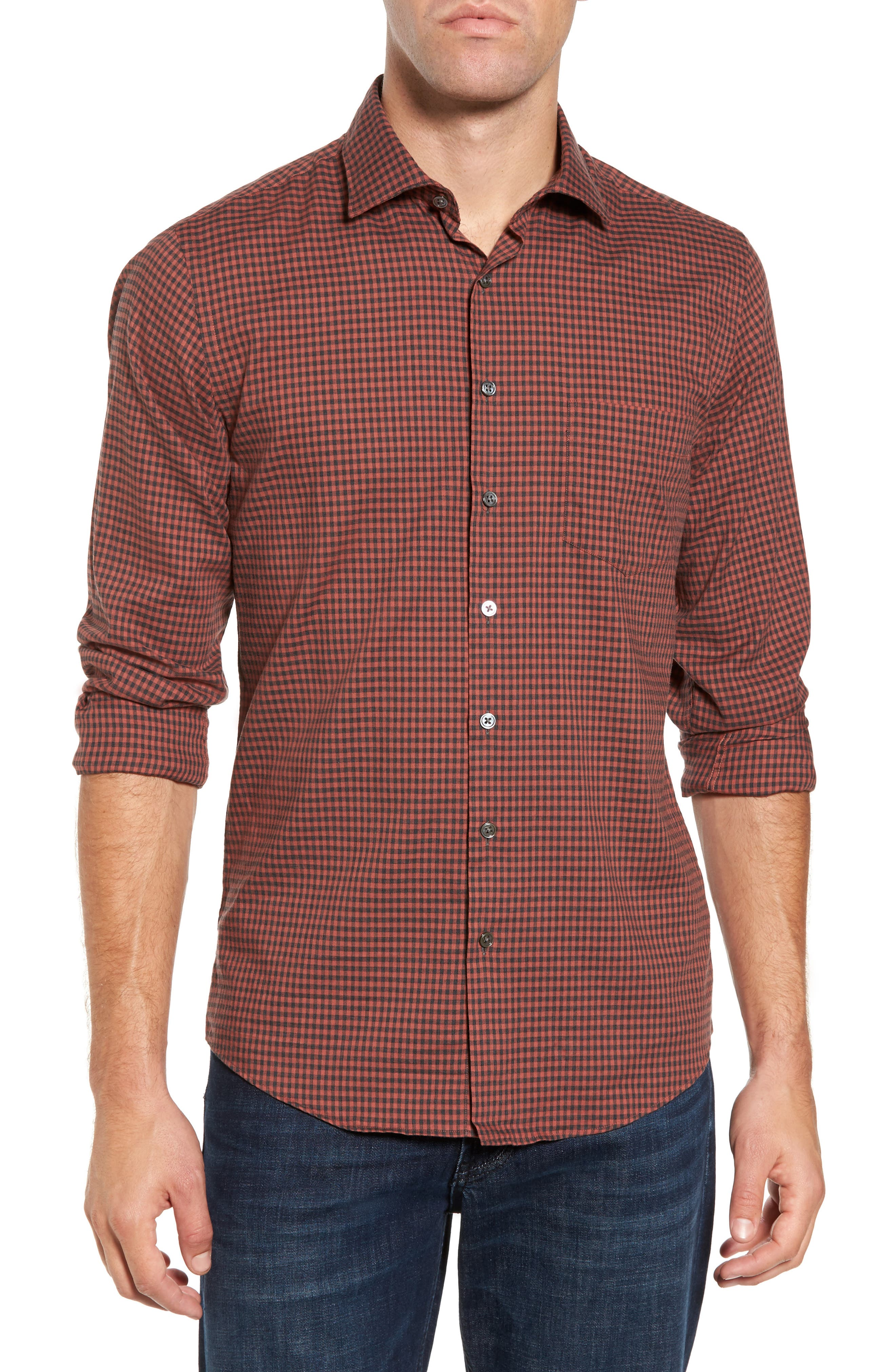 Halls Corner Check Sport Shirt,                         Main,                         color, Red Ochre
