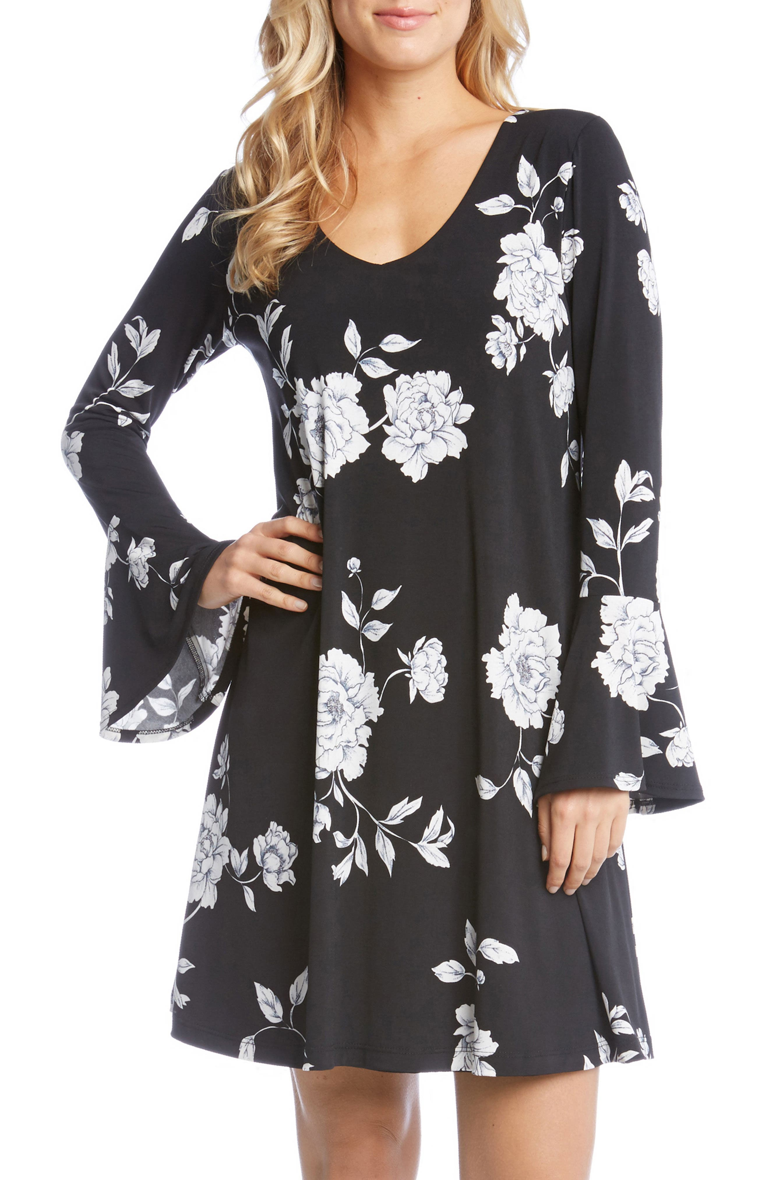 Taylor Bell Cuff Floral A-Line Dress,                             Main thumbnail 1, color,                             Flower