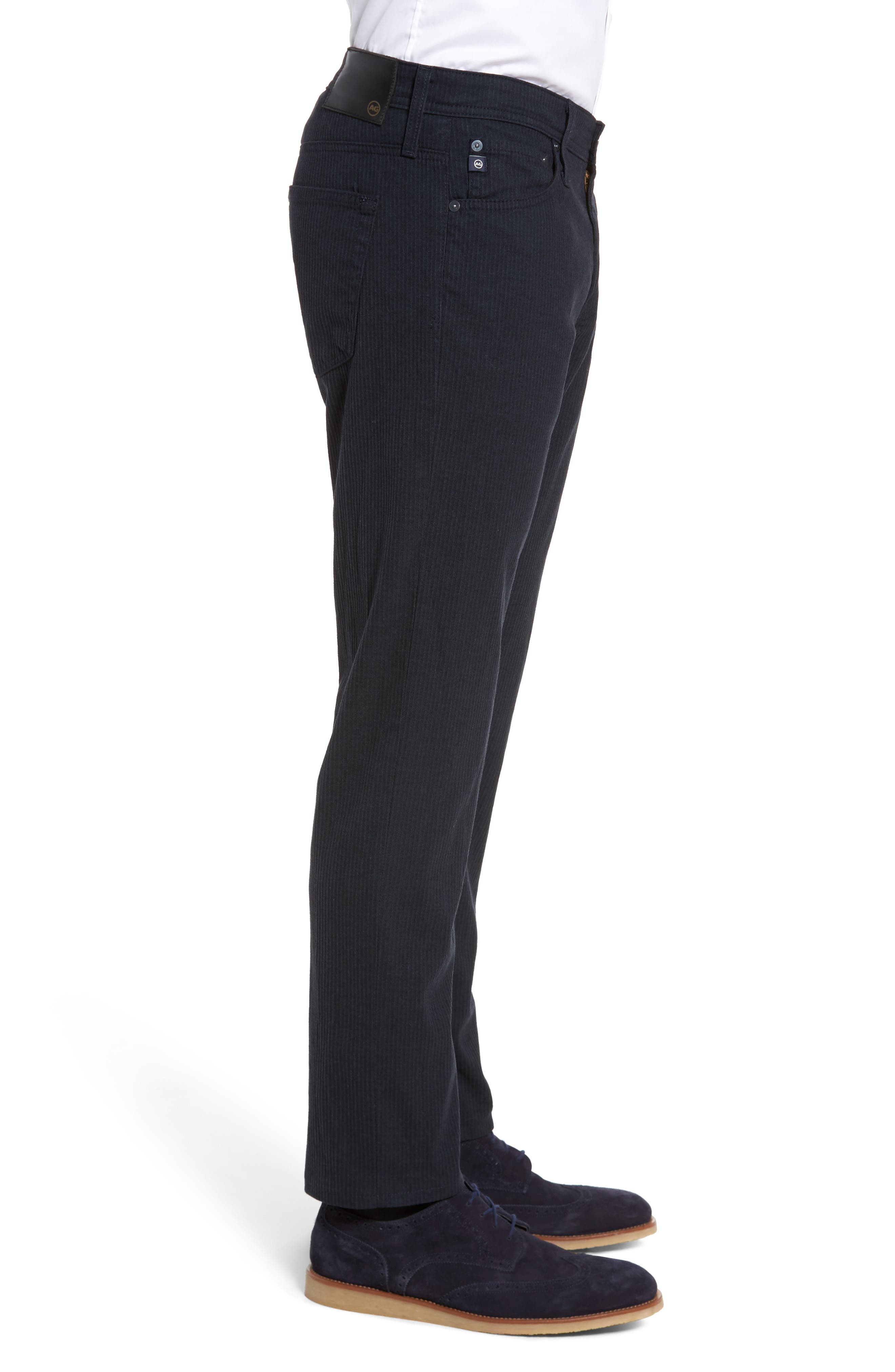 Tellis Modern Slim Stripe Five-Pocket Pants,                             Alternate thumbnail 3, color,                             Midnight Shadow