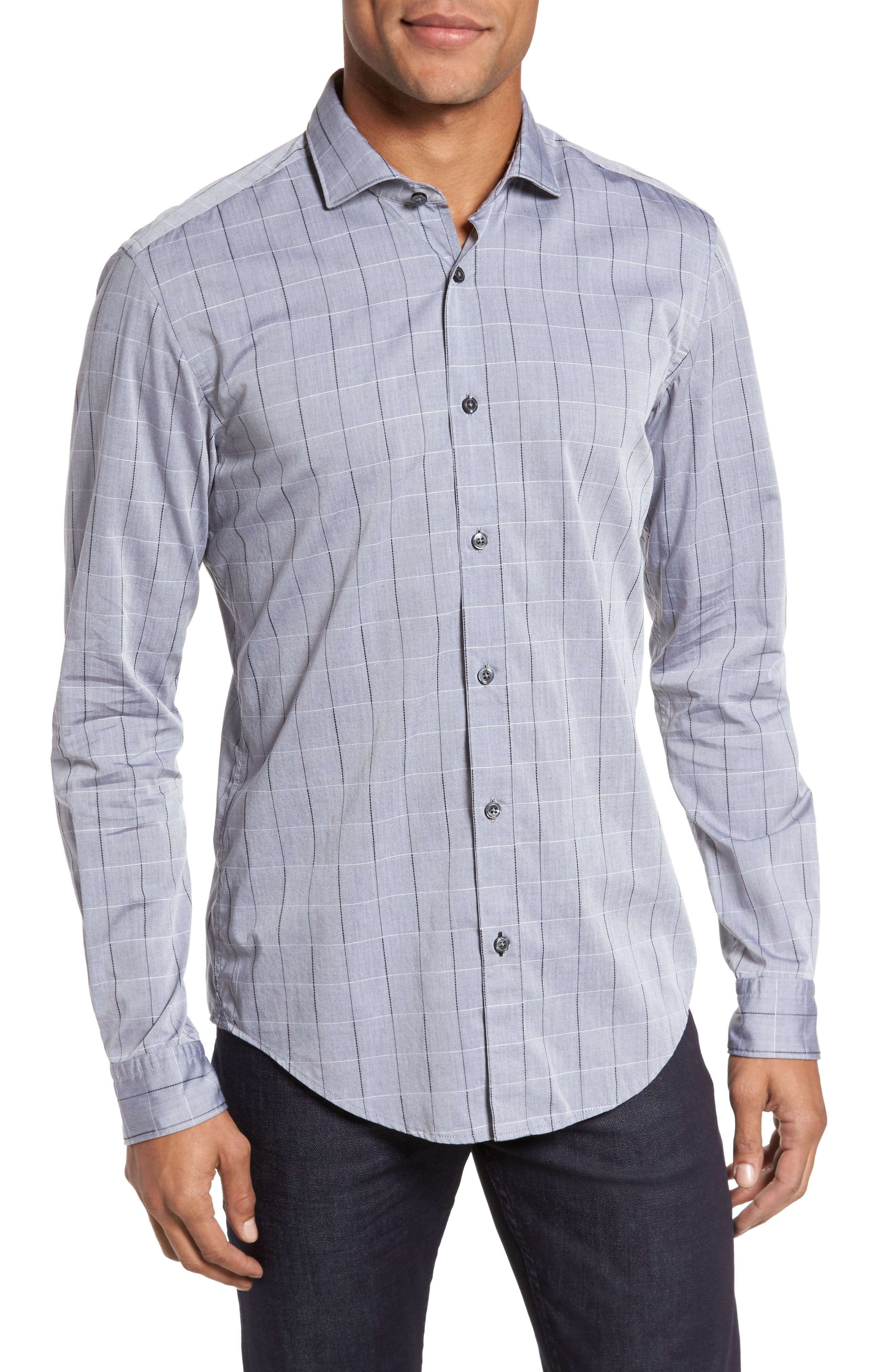Ridley Slim Fit Dobby Check Sport Shirt,                         Main,                         color, Grey