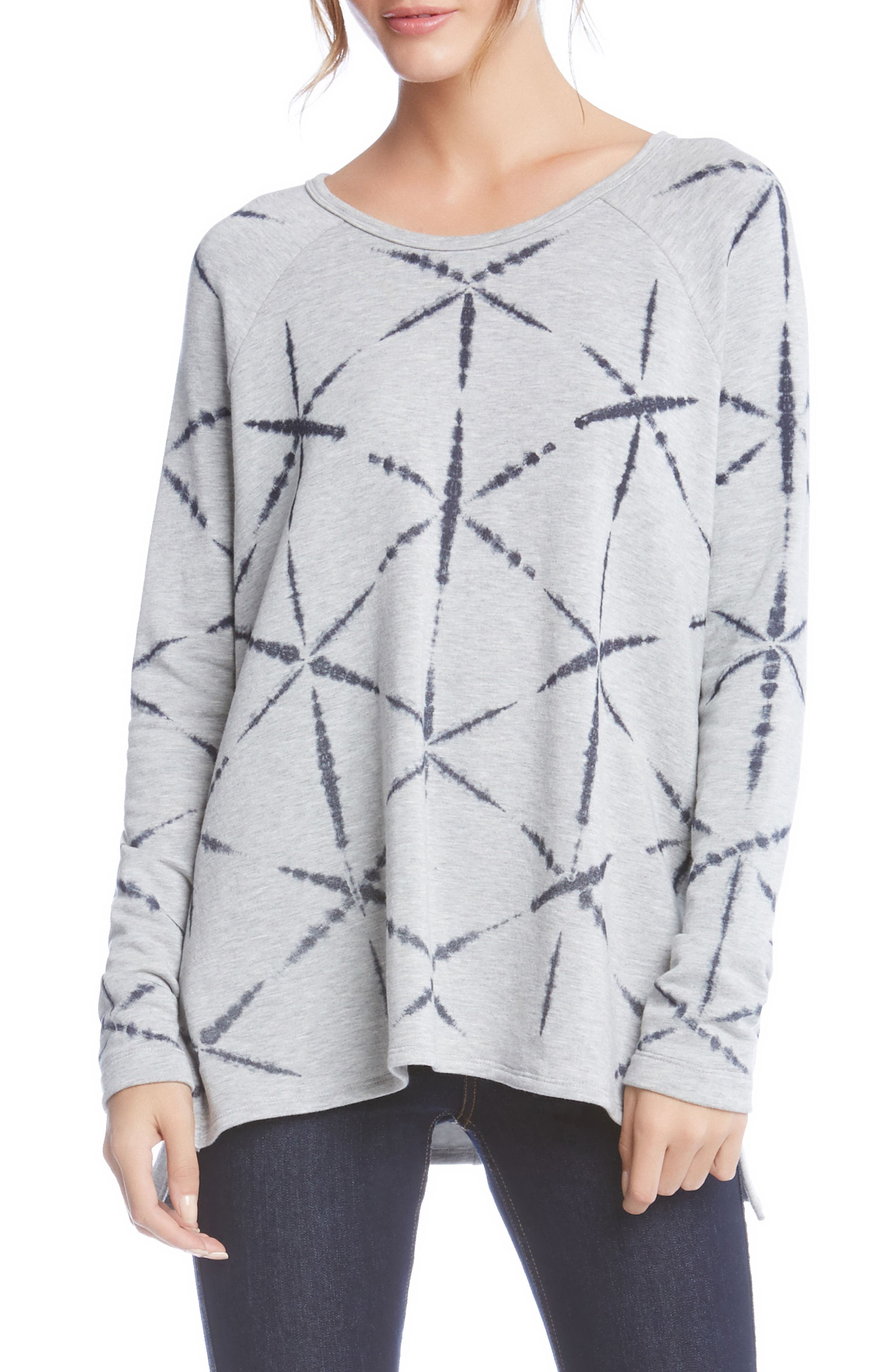 Print High/Low Sweatshirt,                         Main,                         color, Light Heather Grey