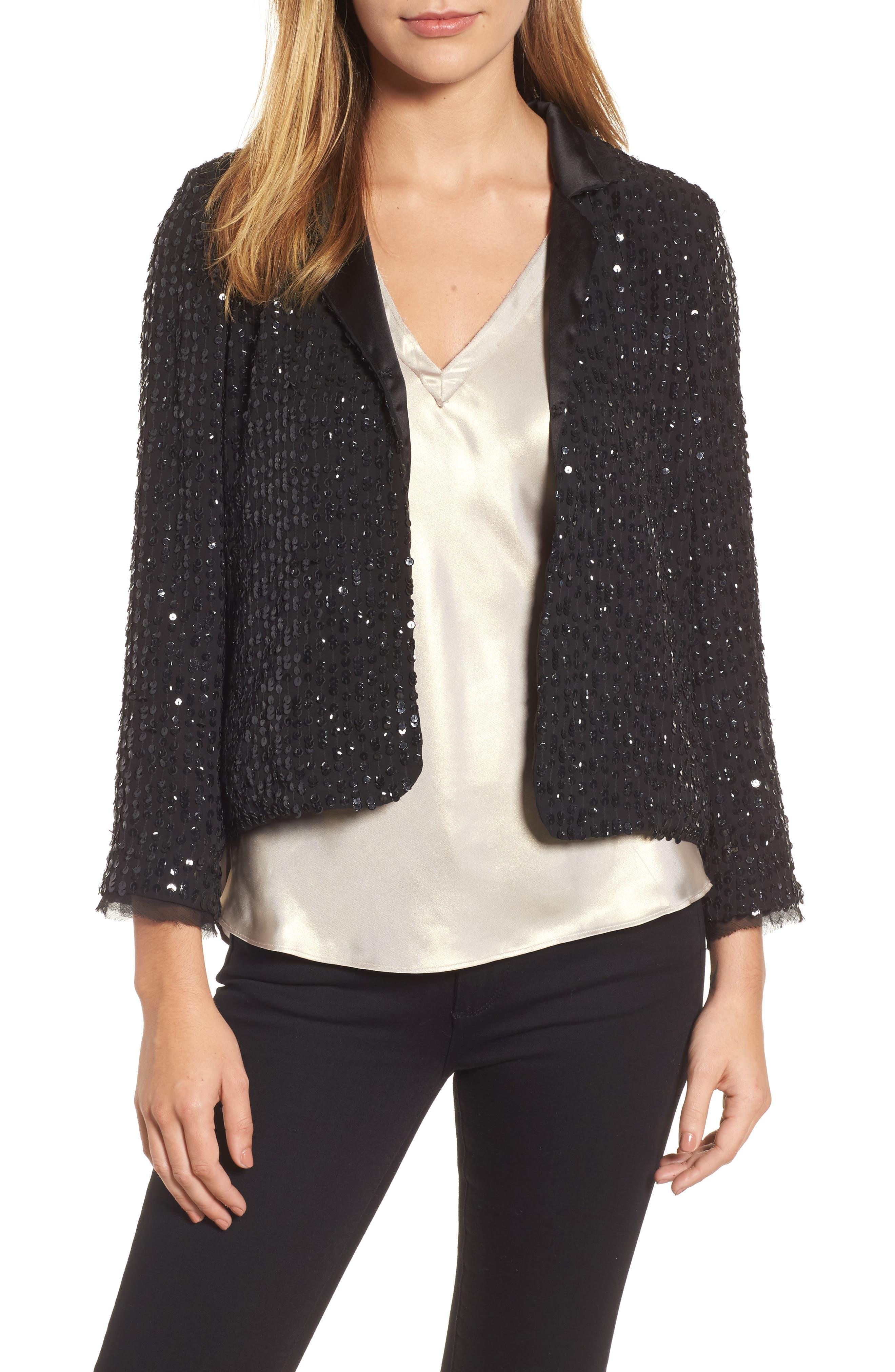 Sequin Jacket,                             Main thumbnail 1, color,                             Black