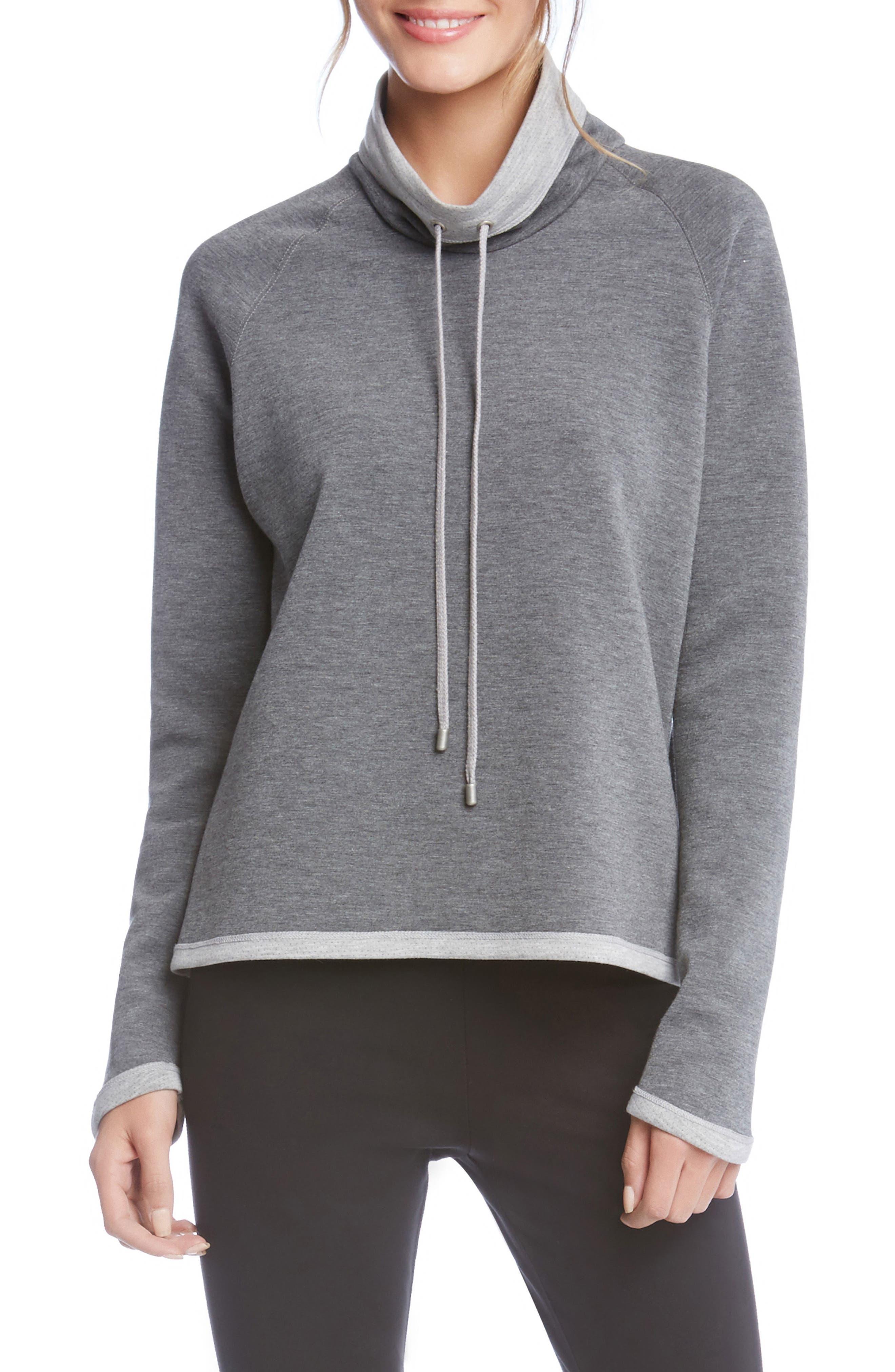 Main Image - Karen Kane Drawstring Neck Contrast Trim Sweatshirt