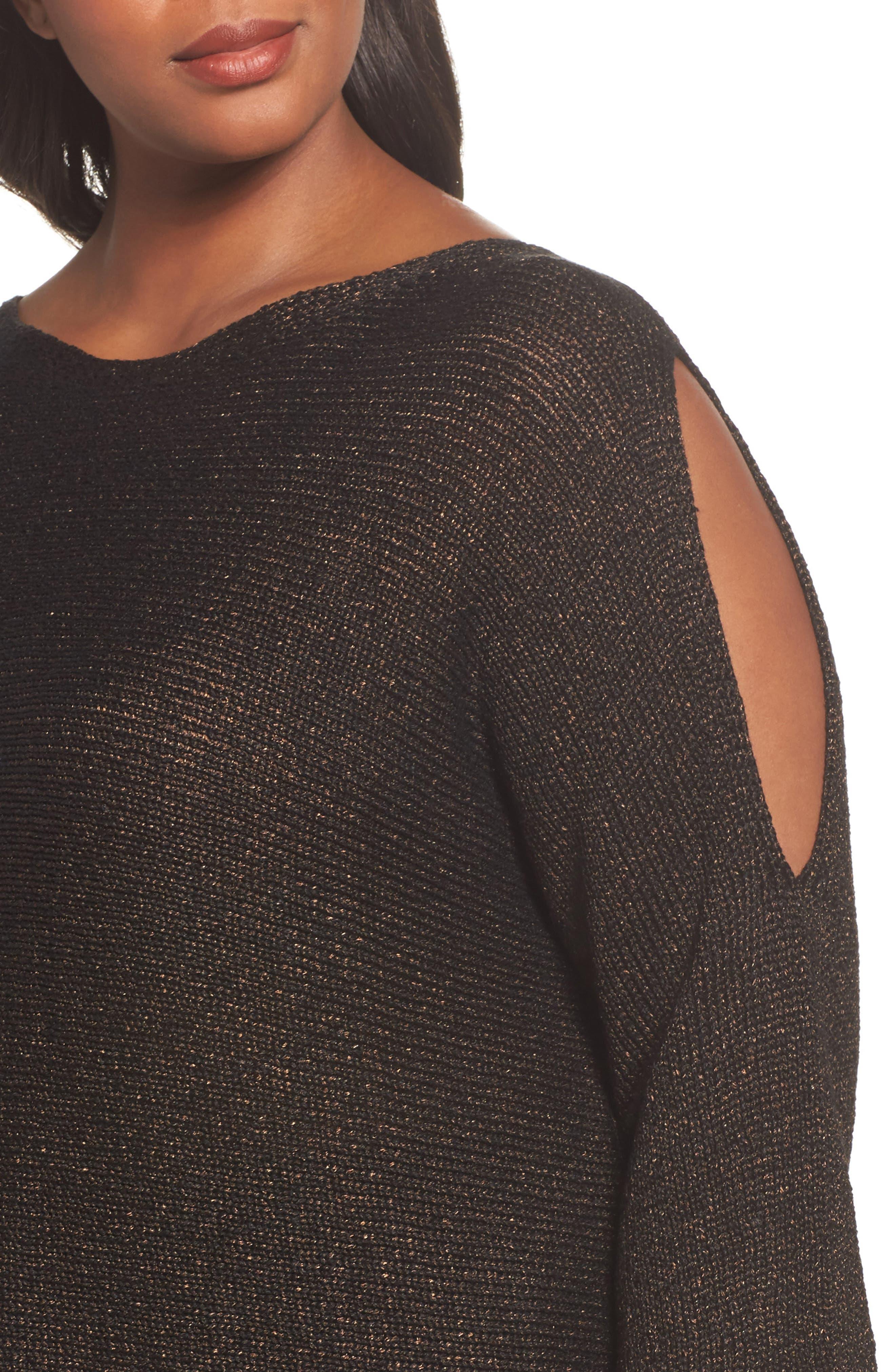 Metallic Organic Linen Blend Sweater,                             Alternate thumbnail 4, color,                             Bronze