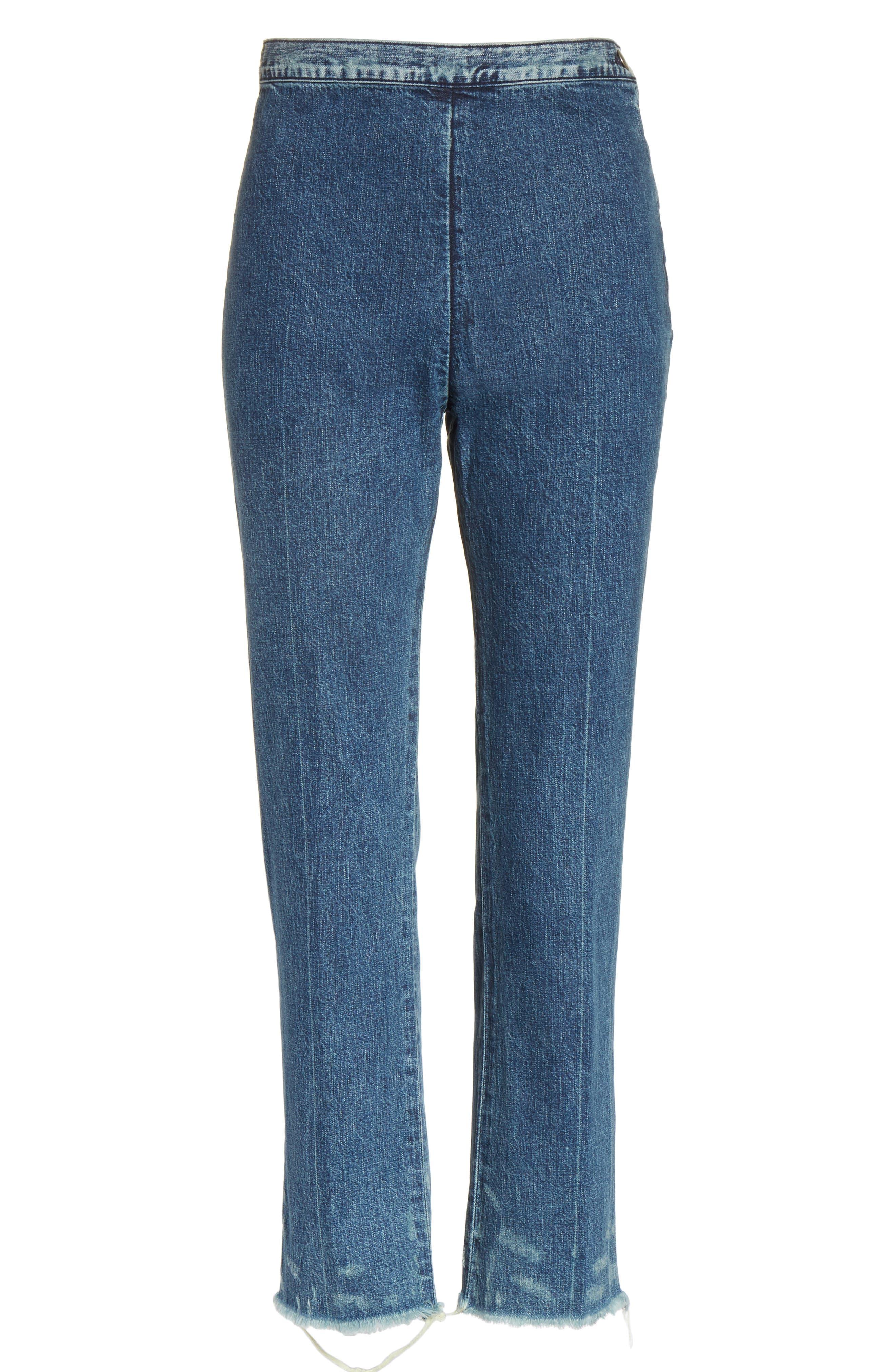 Fletcher Slim Straight Cropped Jeans,                             Alternate thumbnail 6, color,                             Classic Indigo
