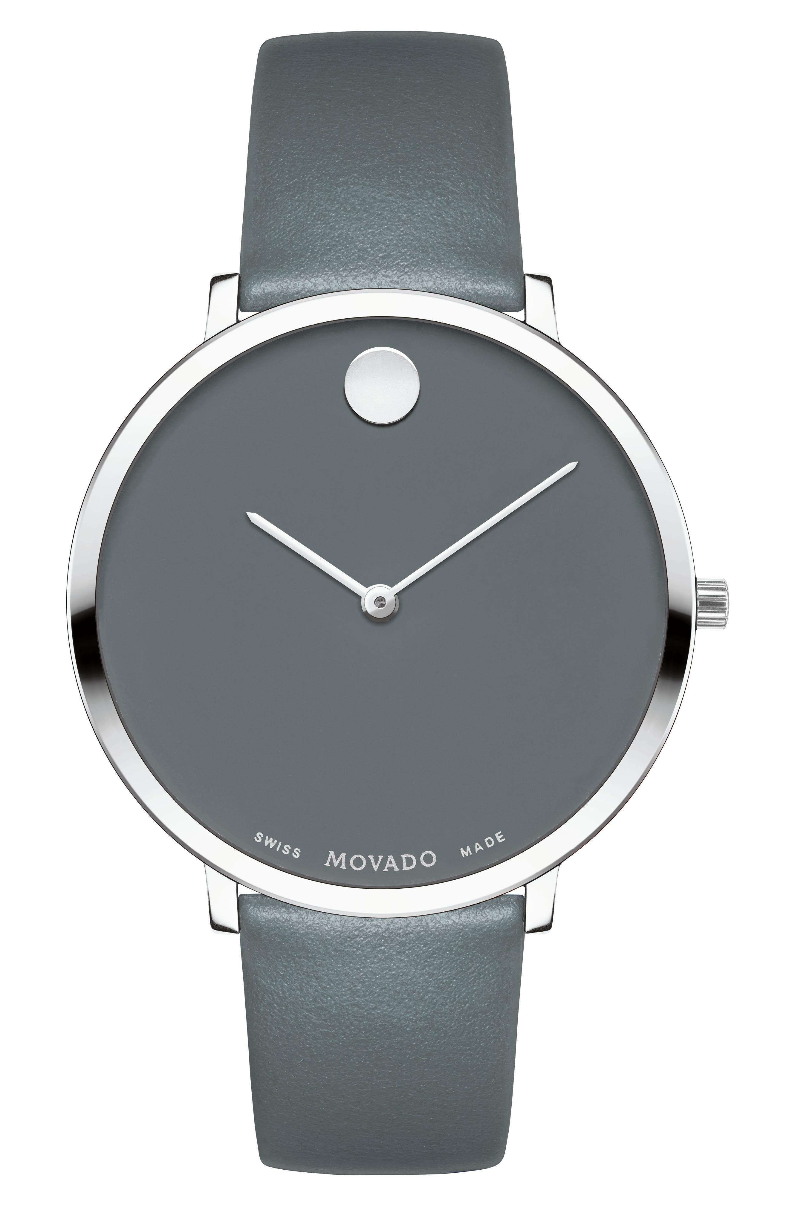 Ultra Slim Special Edition Leather Strap Watch, 35mm,                             Main thumbnail 1, color,                             Grey/ Silver
