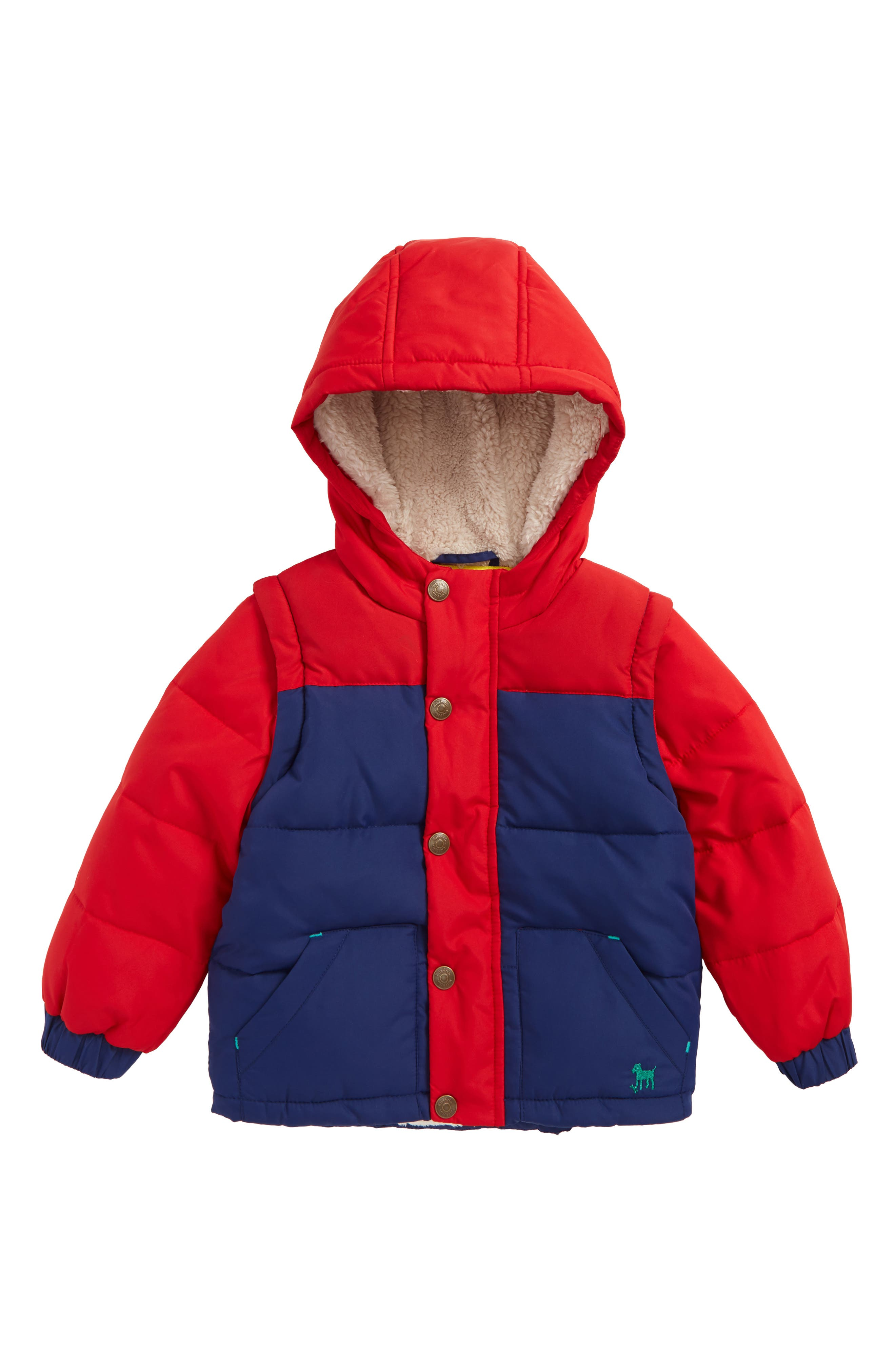 Alternate Image 1 Selected - Mini Boden 2-in-1 Cozy Jacket (Baby Boys & Toddler Boys)