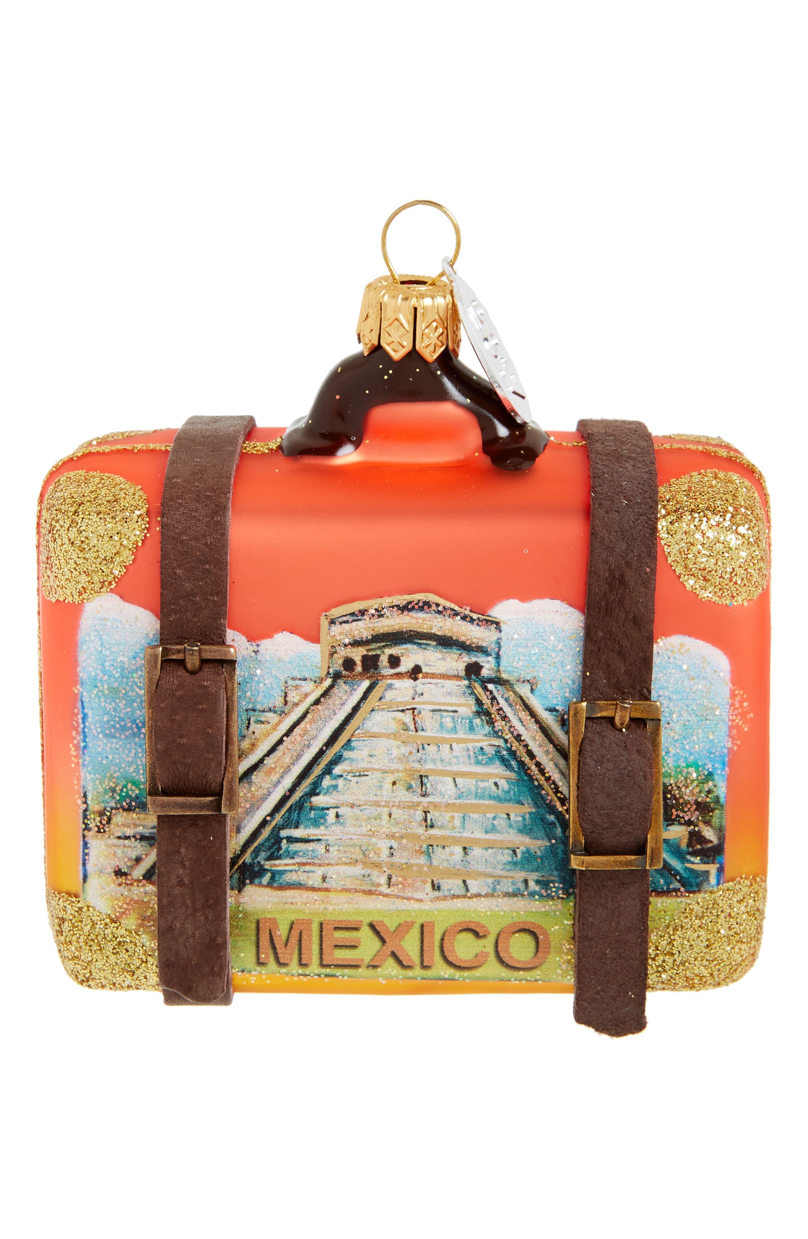 Handblown Glass Travel Suitcase Ornament,                         Main,                         color, Red Salsa Mexico