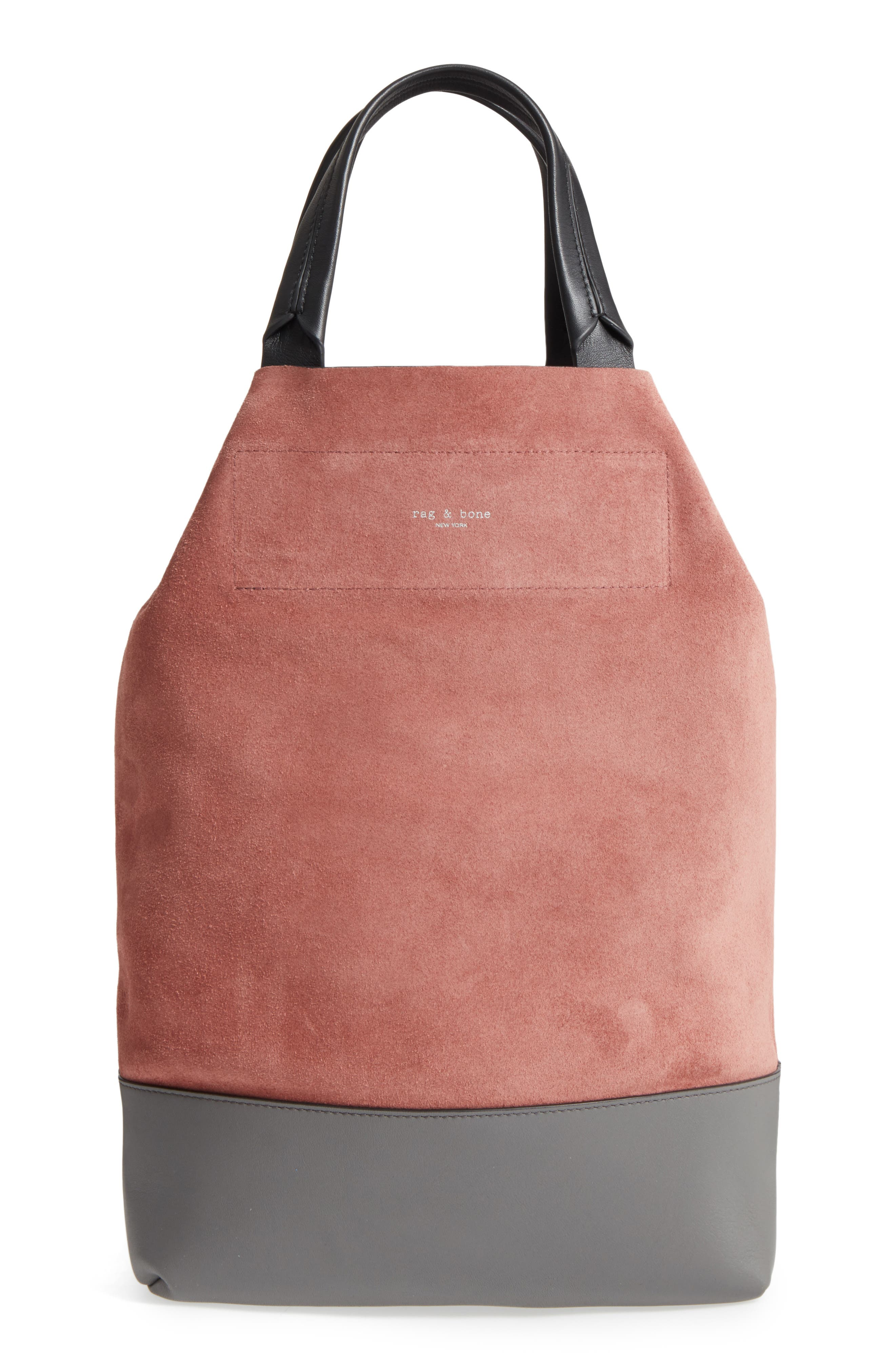 Walker Convertible Suede & Leather Tote,                             Alternate thumbnail 5, color,                             Mauve Suede
