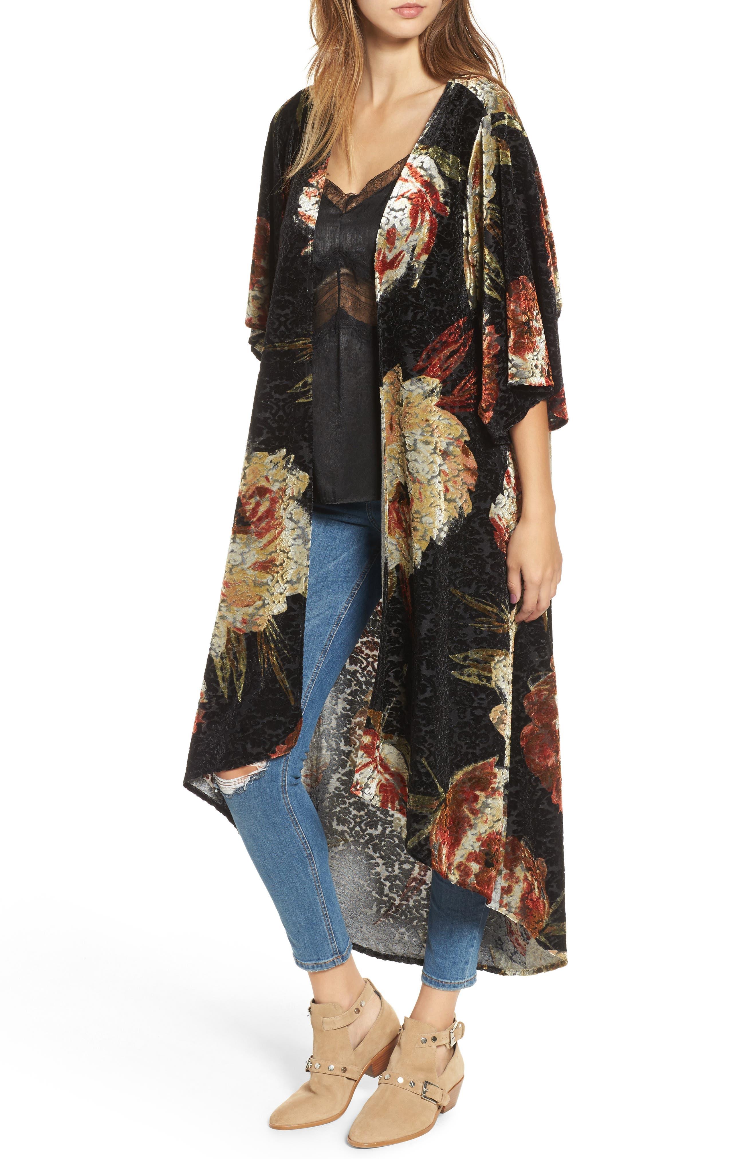 Burnout Floral Kimono,                         Main,                         color, Black Floral