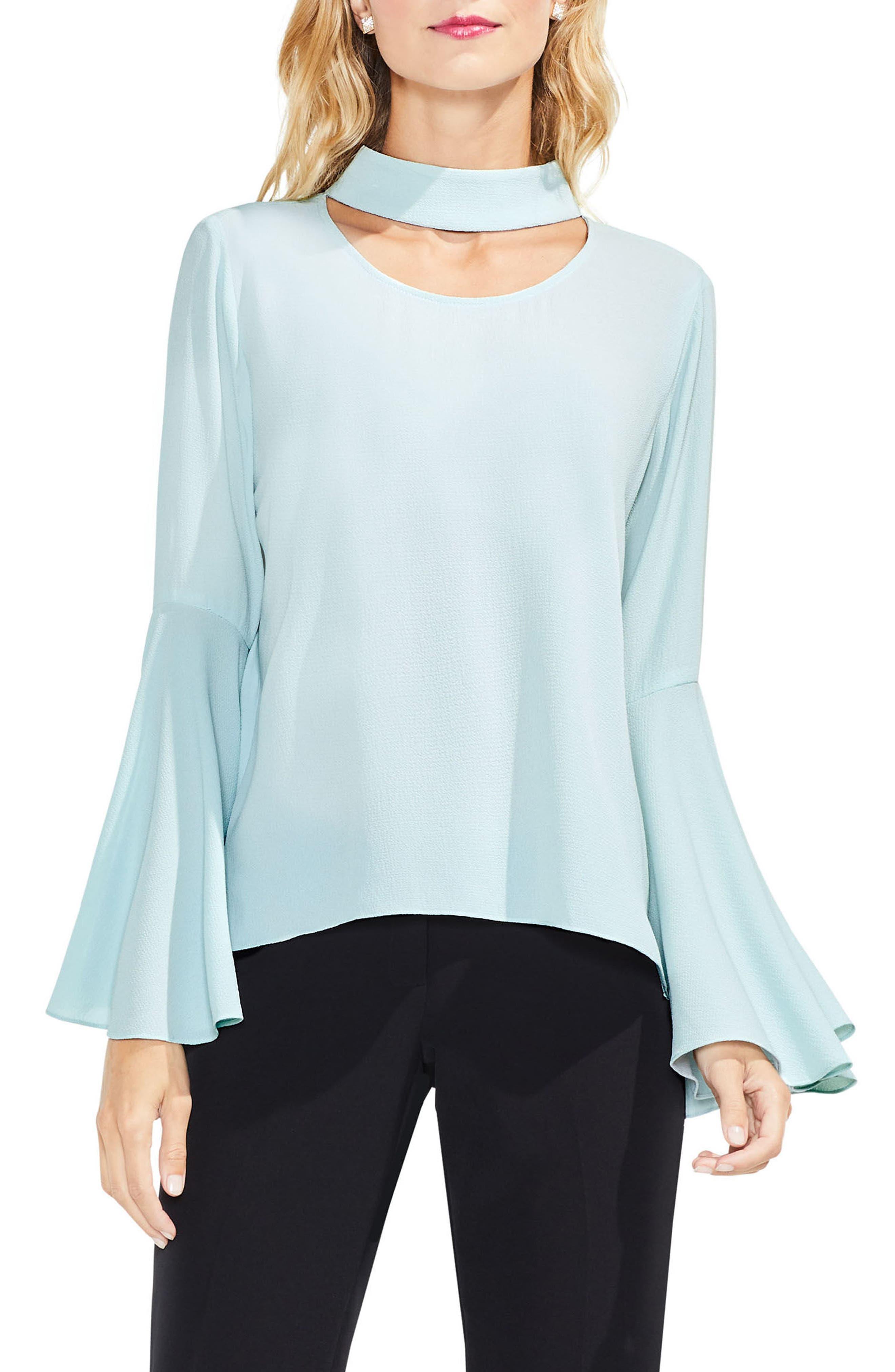 Choker Neck Bell Sleeve Blouse,                         Main,                         color, Aqua Mist