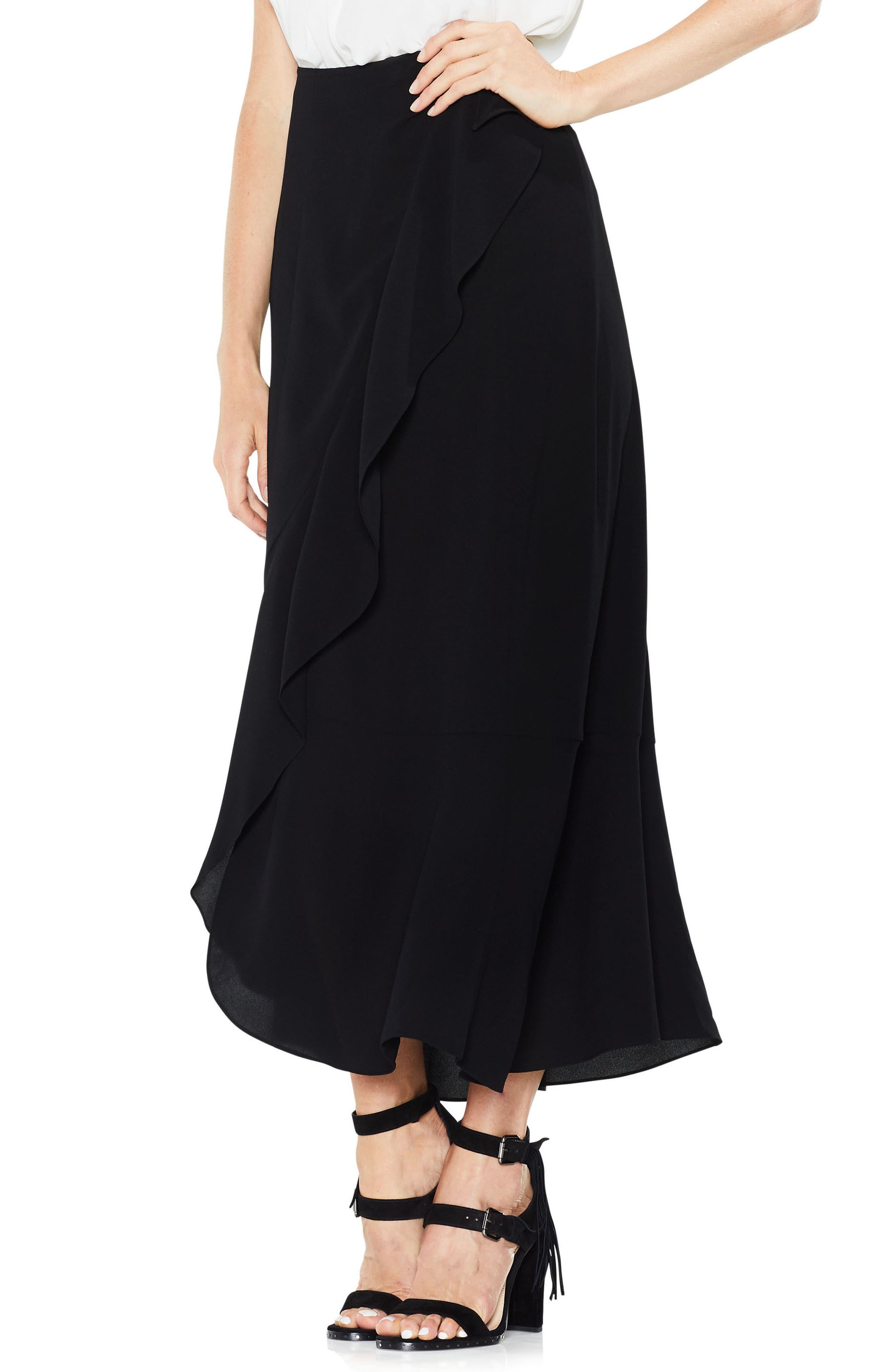 Ruffle Faux Wrap Skirt,                             Main thumbnail 1, color,                             Rich Black