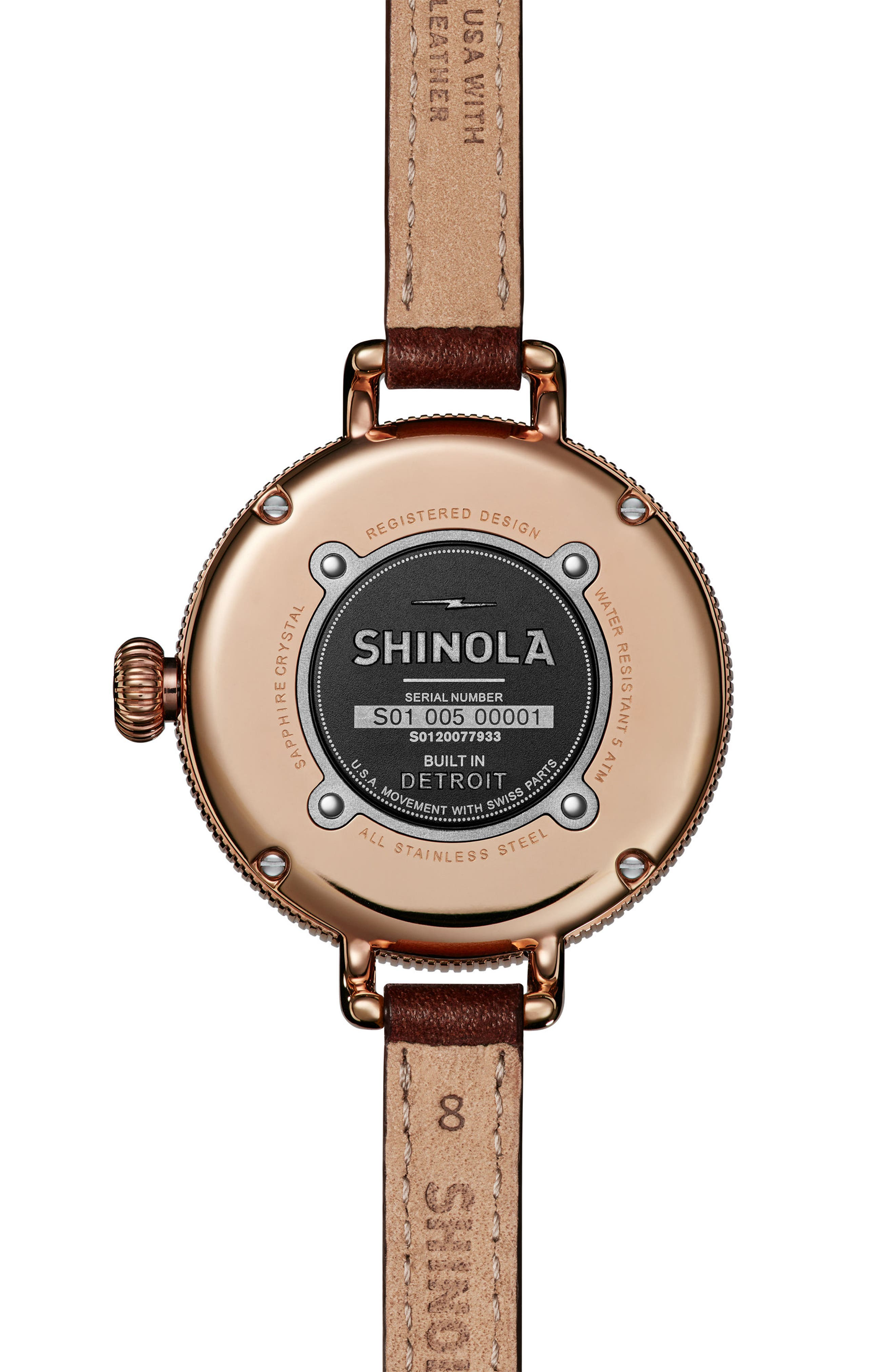 The Birdy Leather Strap Watch, 34mm,                             Alternate thumbnail 4, color,                             Burgundy/ Gold