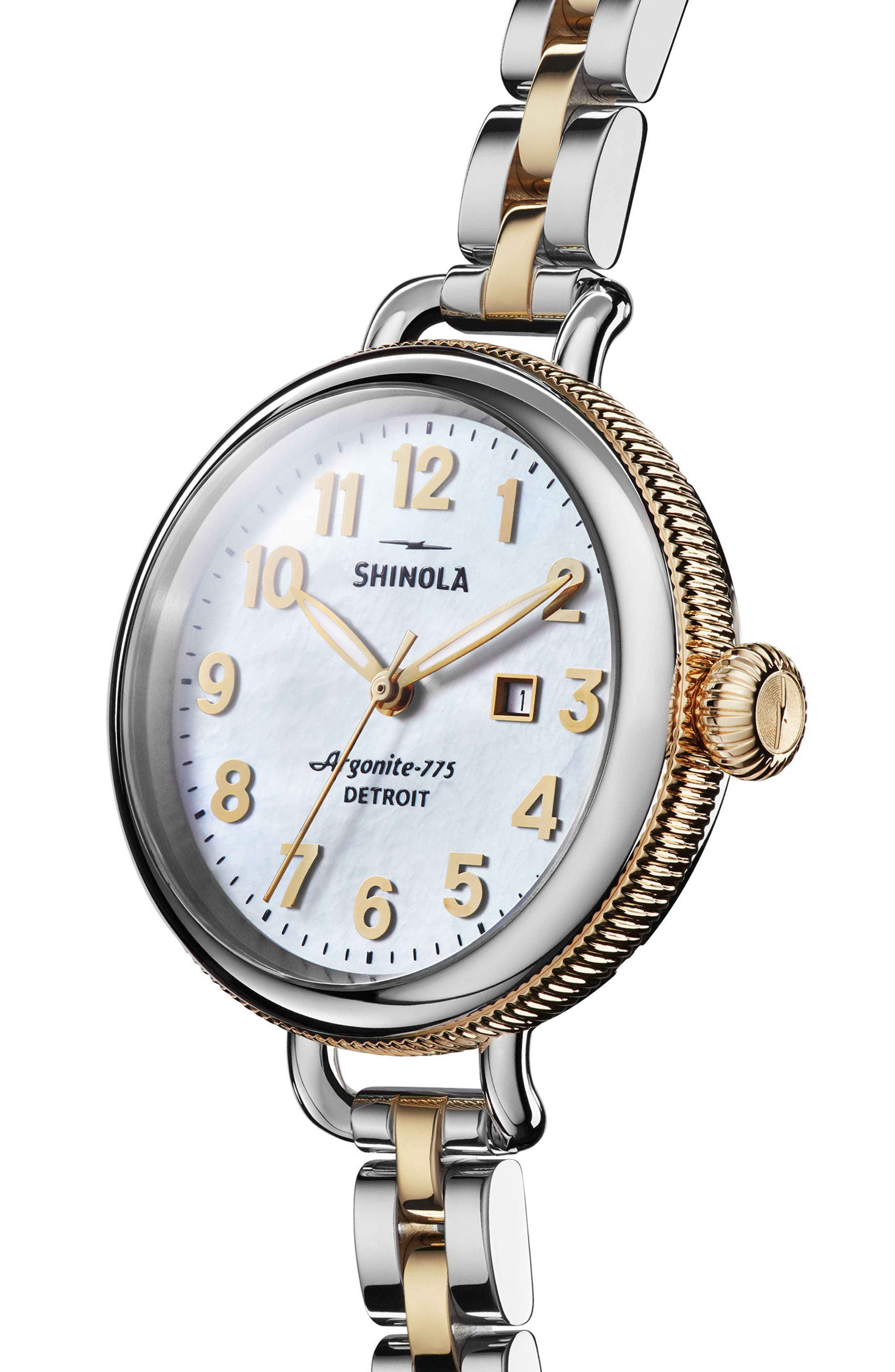 'The Birdy' Bracelet Watch, 34mm,                             Alternate thumbnail 2, color,                             Silver/ Bedrock Mop/ Gold