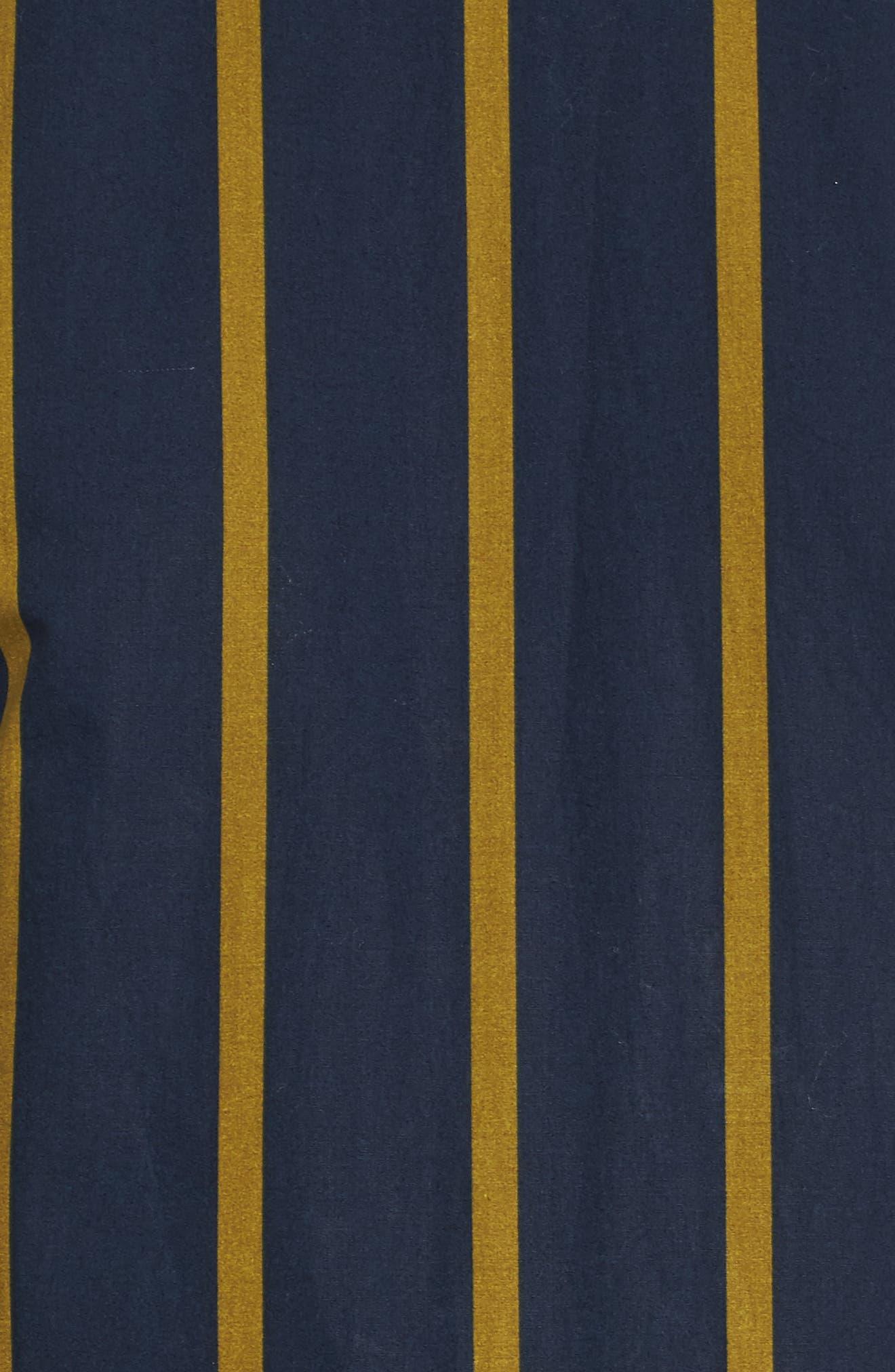 Stripe Button Sleeve Shirt,                             Alternate thumbnail 4, color,                             Navy
