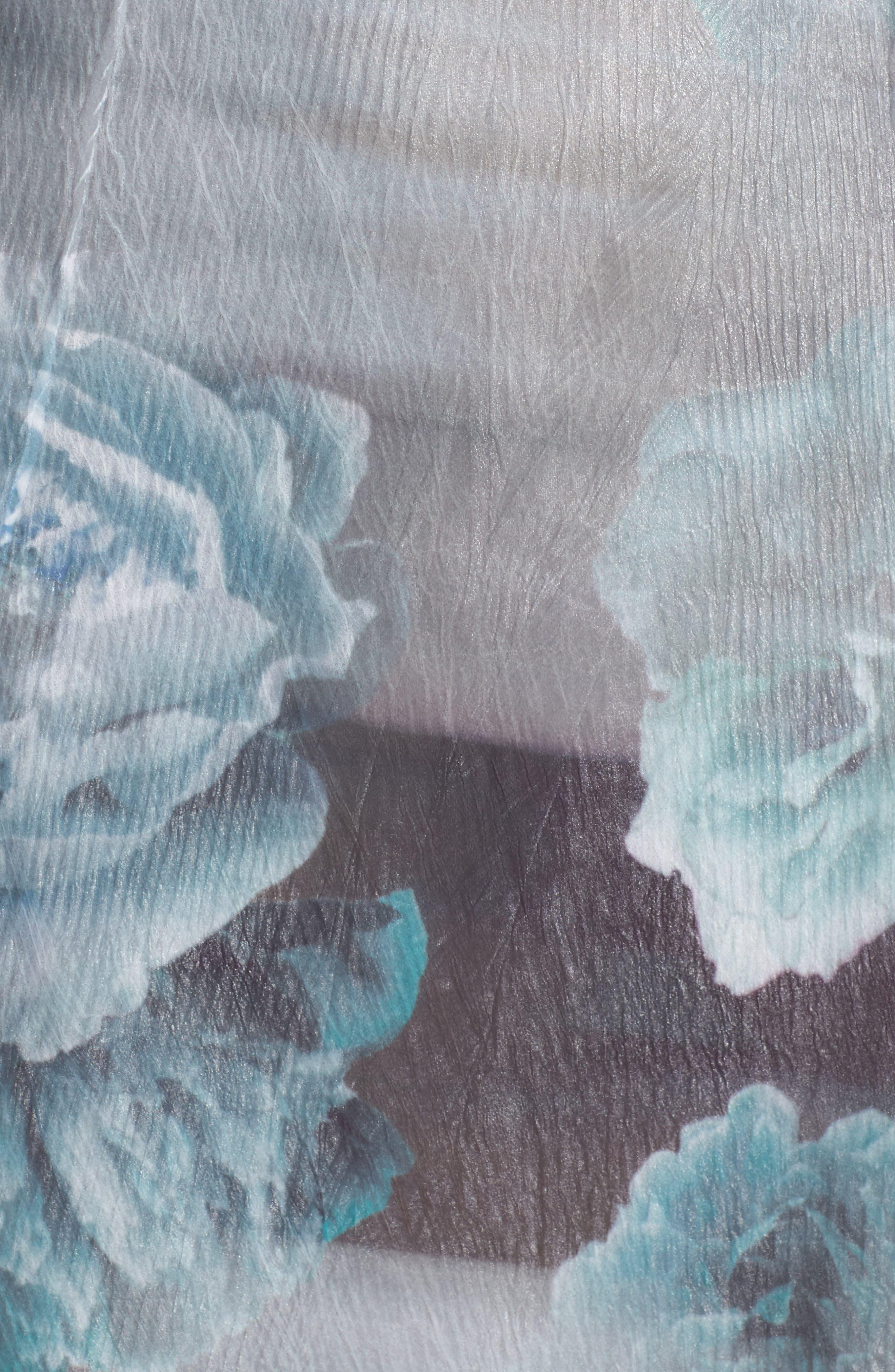 Floral A-Line Chiffon Dress,                             Alternate thumbnail 5, color,                             Jade Mist
