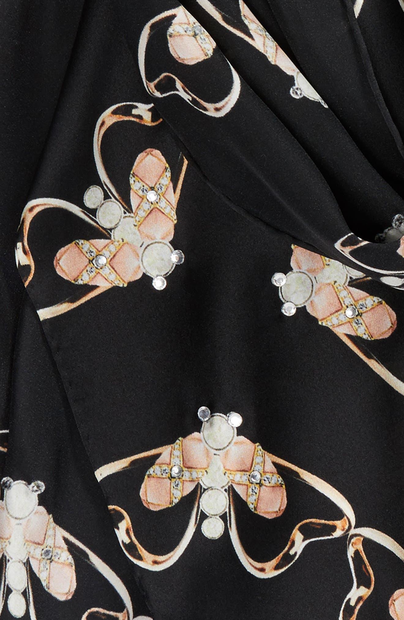 Queen Bee Long Silk Scarf,                             Alternate thumbnail 4, color,                             00-Black