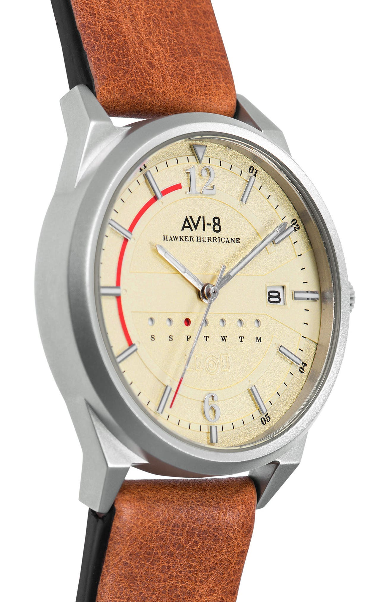 Hawker Hurricane Leather Strap Watch, 38mm,                             Alternate thumbnail 4, color,                             Cream/ Brown