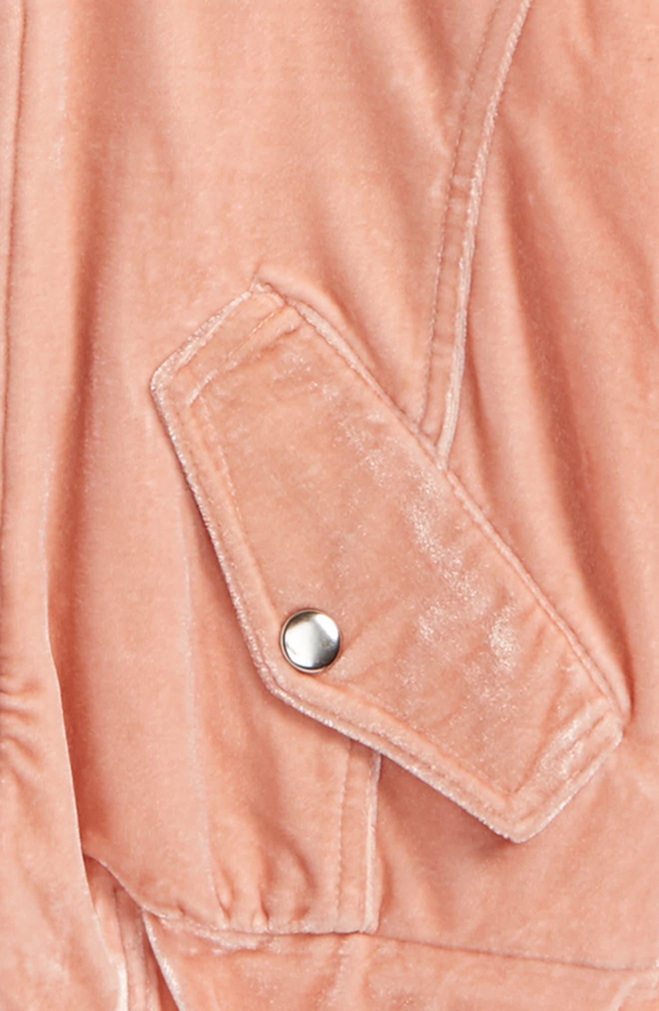 Mackenzie Velvet Bomber Jacket,                             Alternate thumbnail 2, color,                             Pink