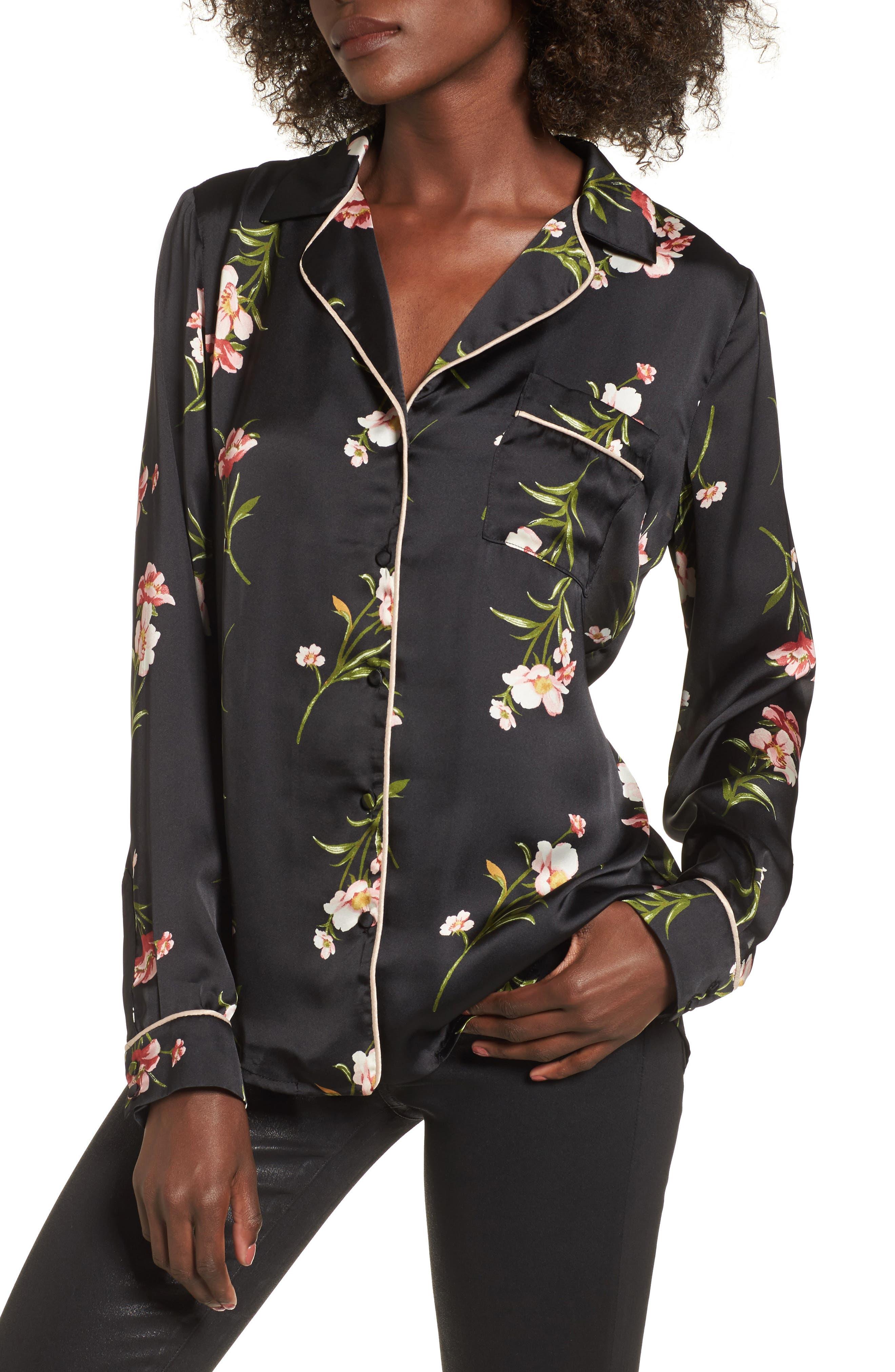 Floral PJ Shirt,                         Main,                         color, Black Rose Floral