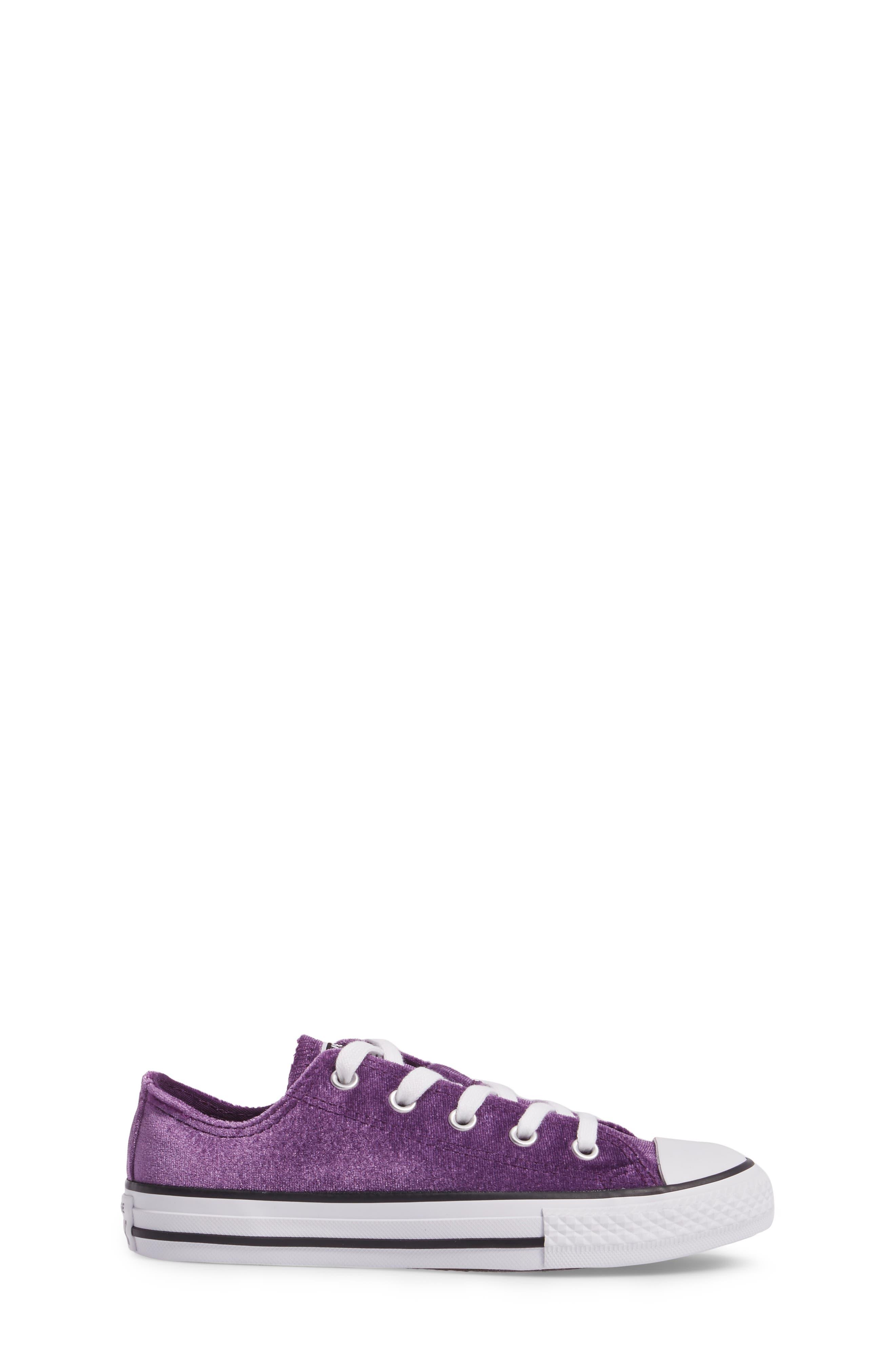 Chuck Taylor<sup>®</sup> All Star<sup>®</sup> Velvet OX Low Top Sneaker,                             Alternate thumbnail 3, color,                             Night Purple Velvet