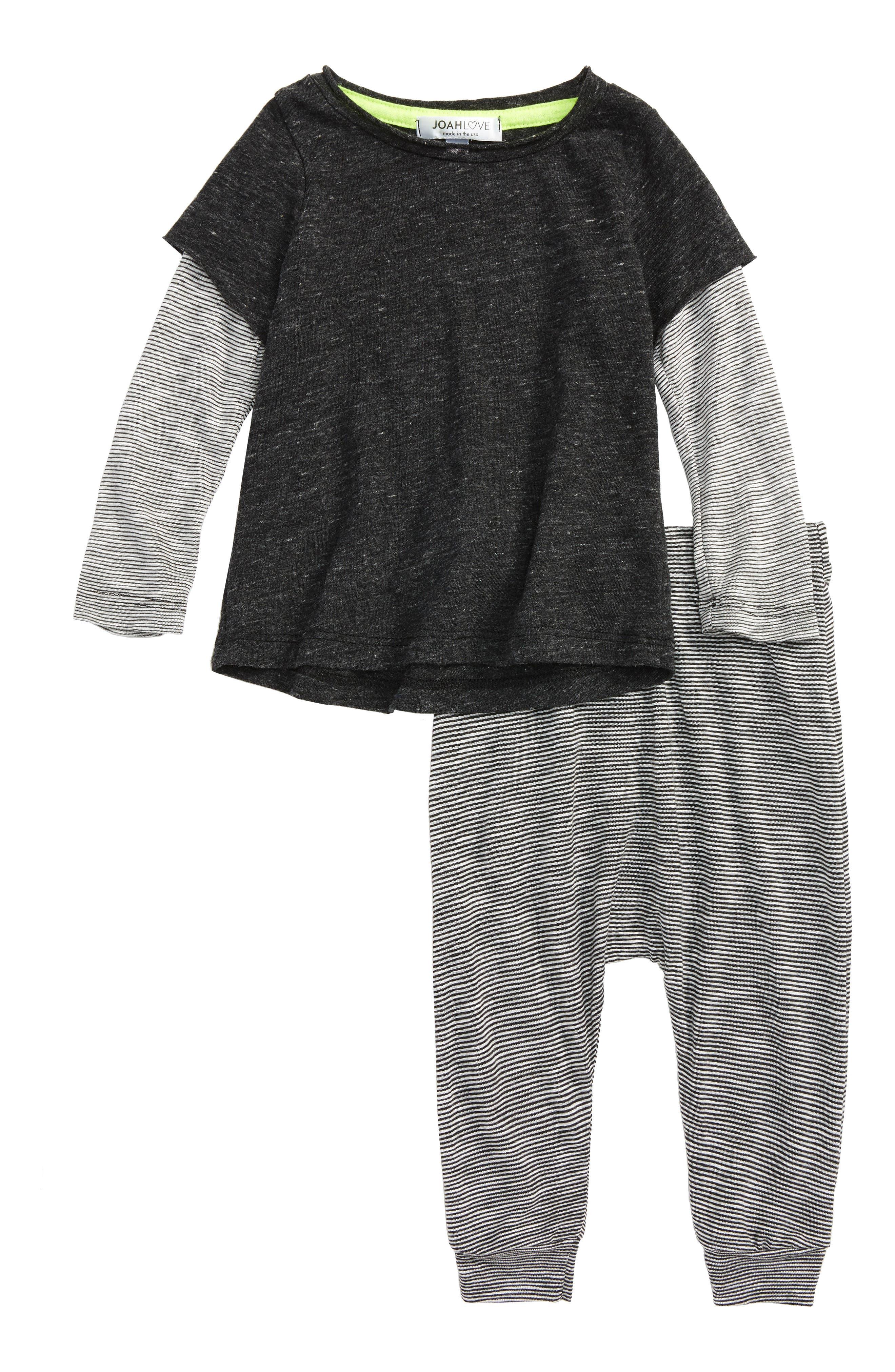T-Shirt & Pants Set,                             Main thumbnail 1, color,                             Charcoal Stripe