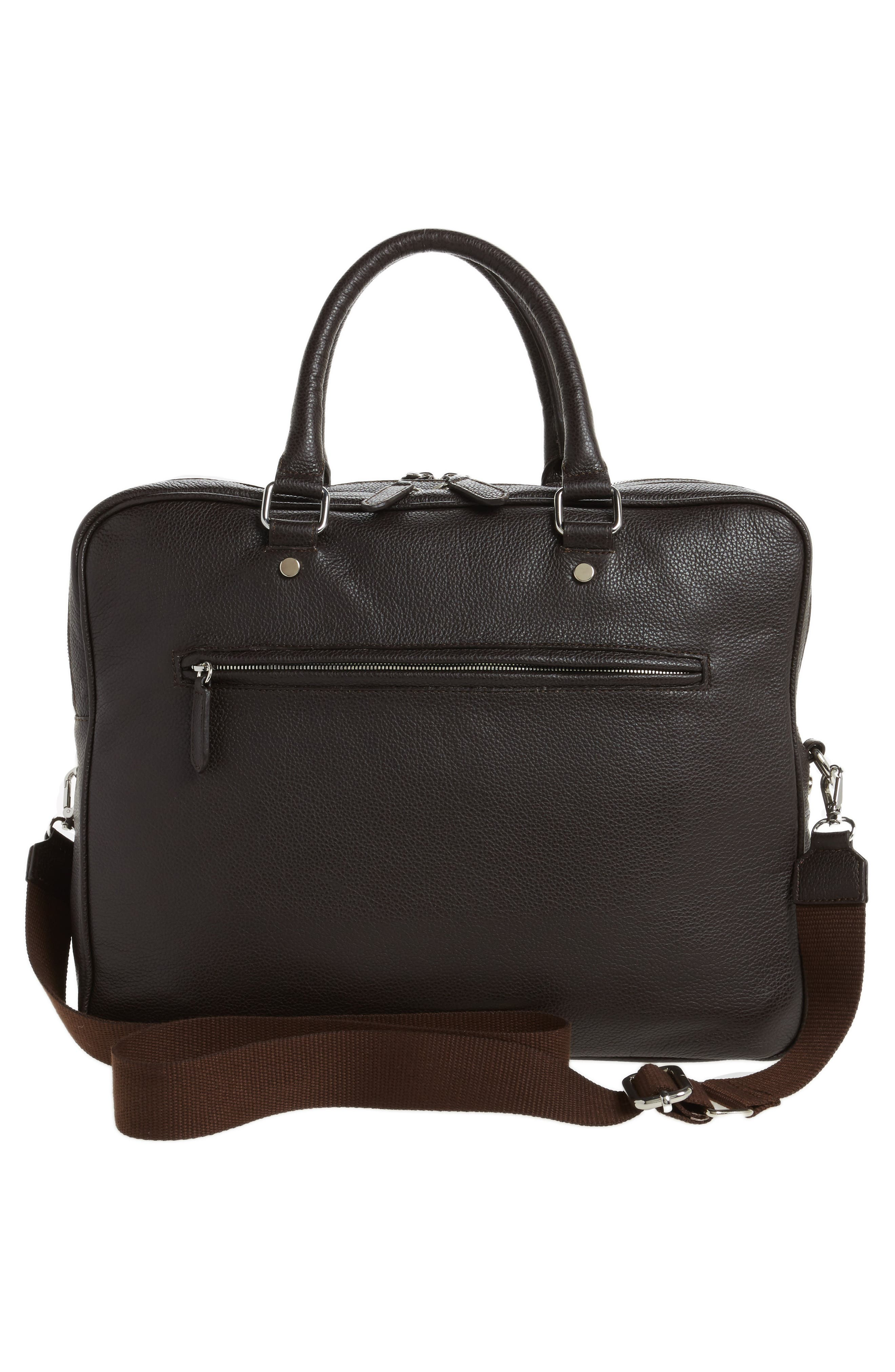 Leather Laptop Bag,                             Alternate thumbnail 3, color,                             Brown