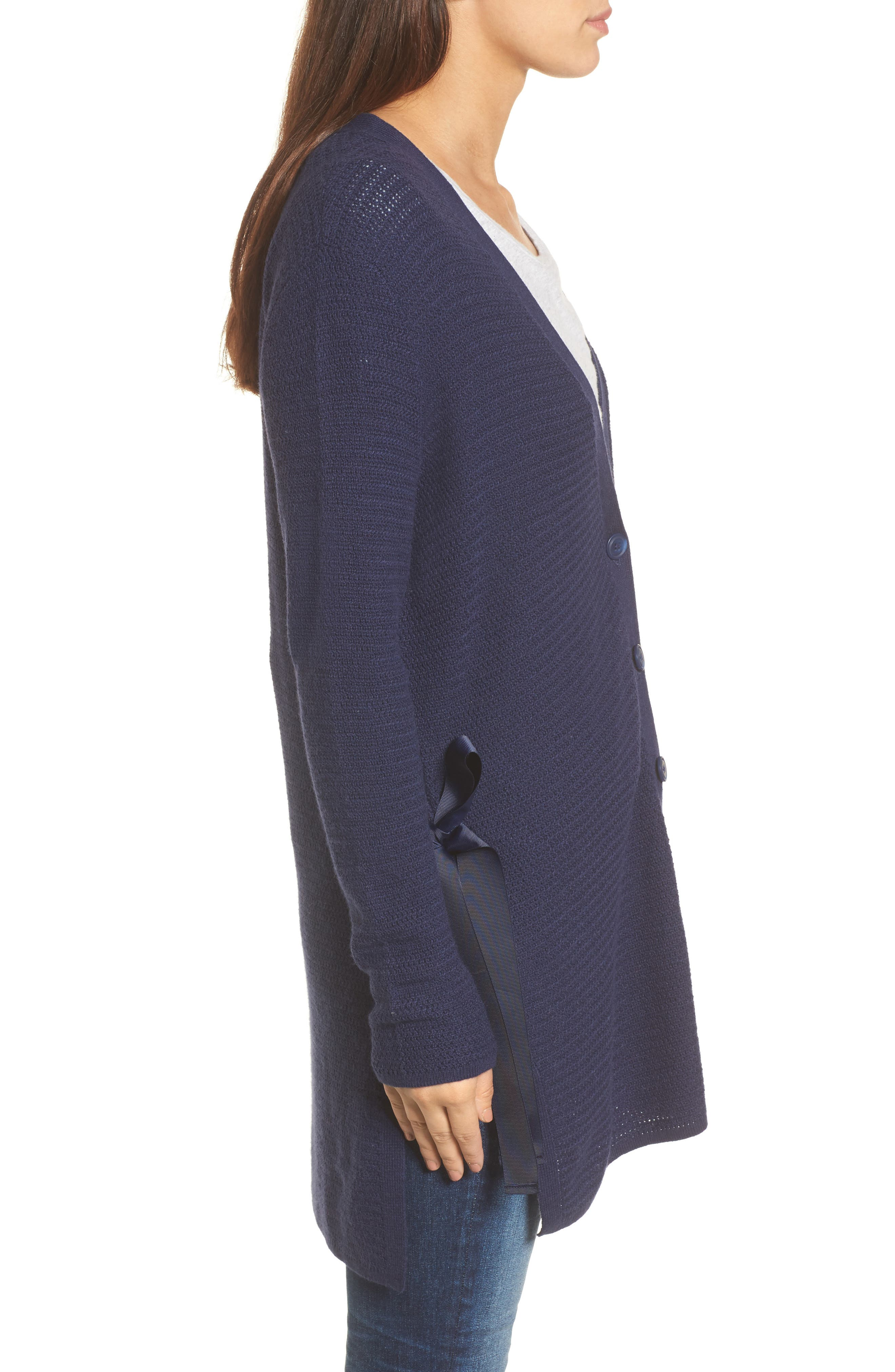 Side Tie Cardigan,                             Alternate thumbnail 3, color,                             Navy Peacoat
