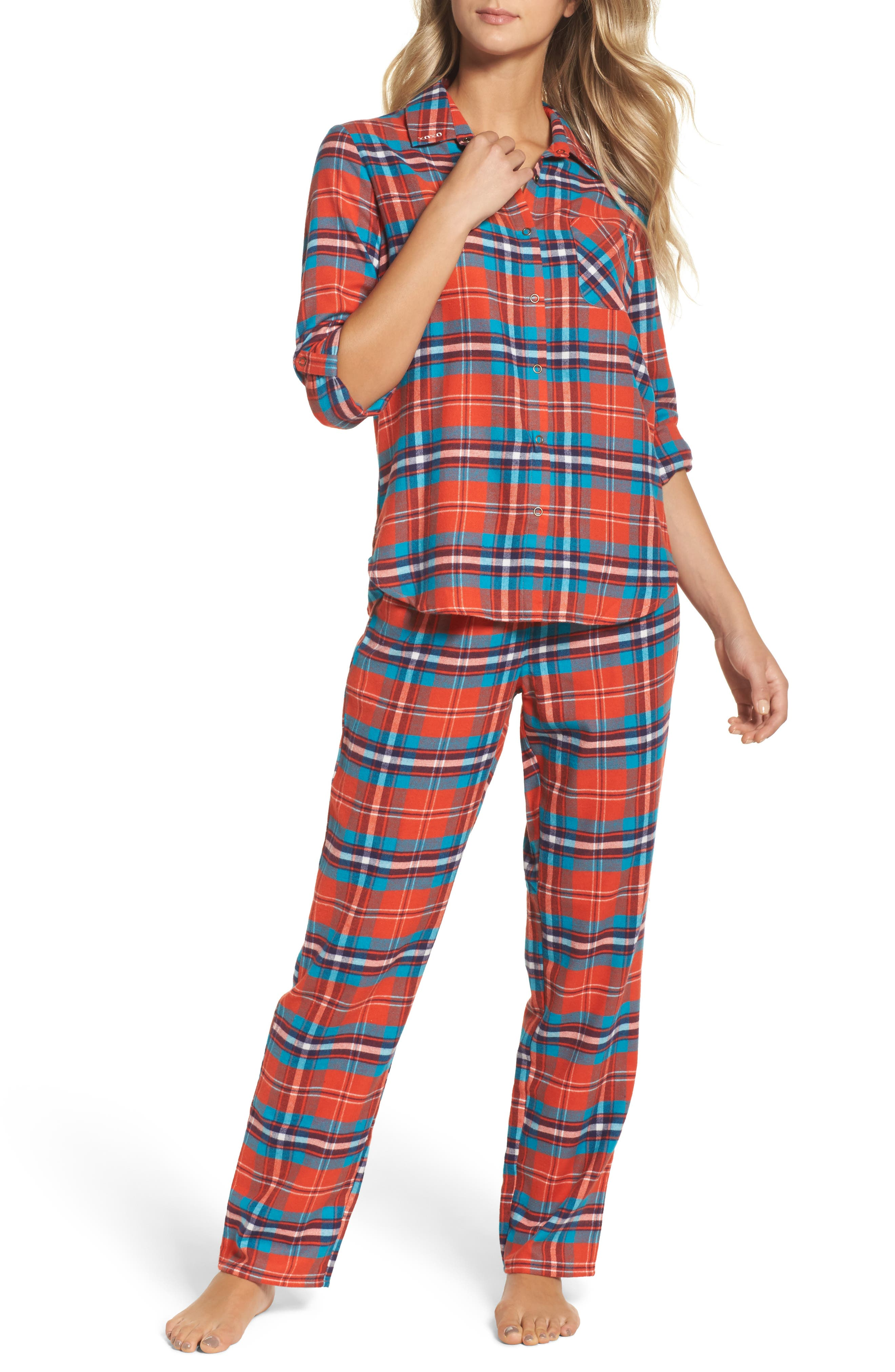 Flannel Girlfriend Pajamas,                         Main,                         color, Red Grenadine Maclean Tartan