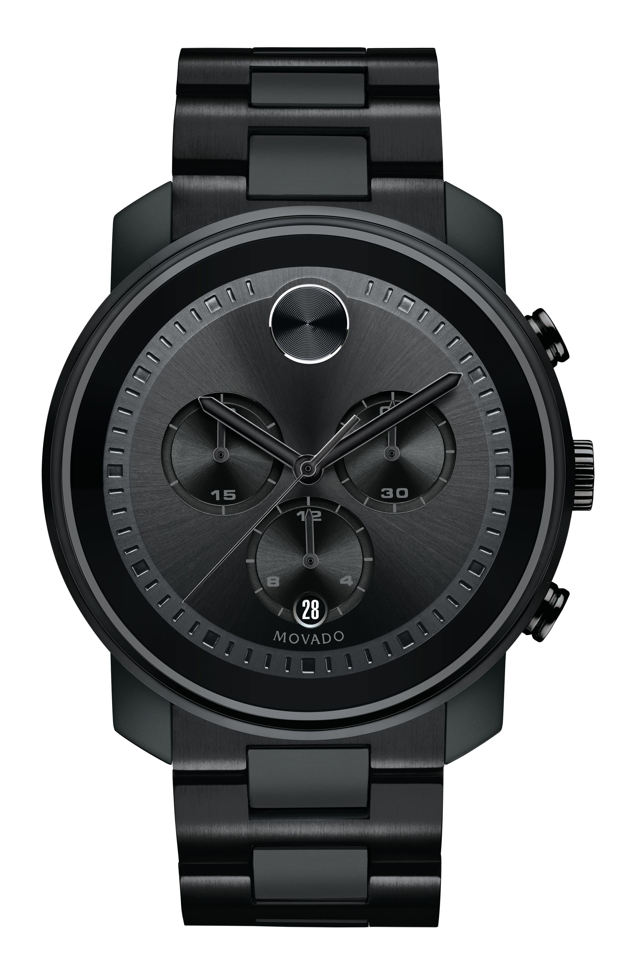 Bold Chronograph Bracelet Watch, 44mm,                         Main,                         color, Black
