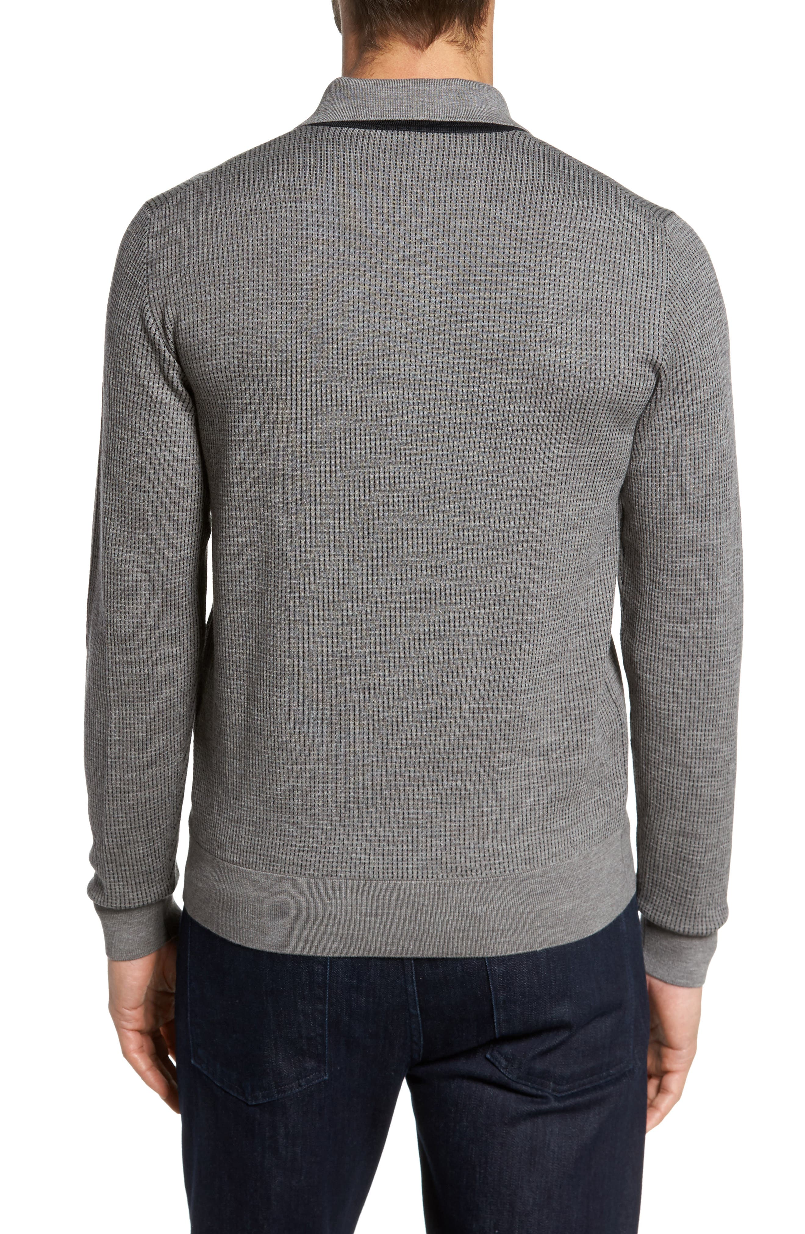 Grey Needlepoint Wool & Silk Polo Sweater,                             Alternate thumbnail 2, color,                             Grey