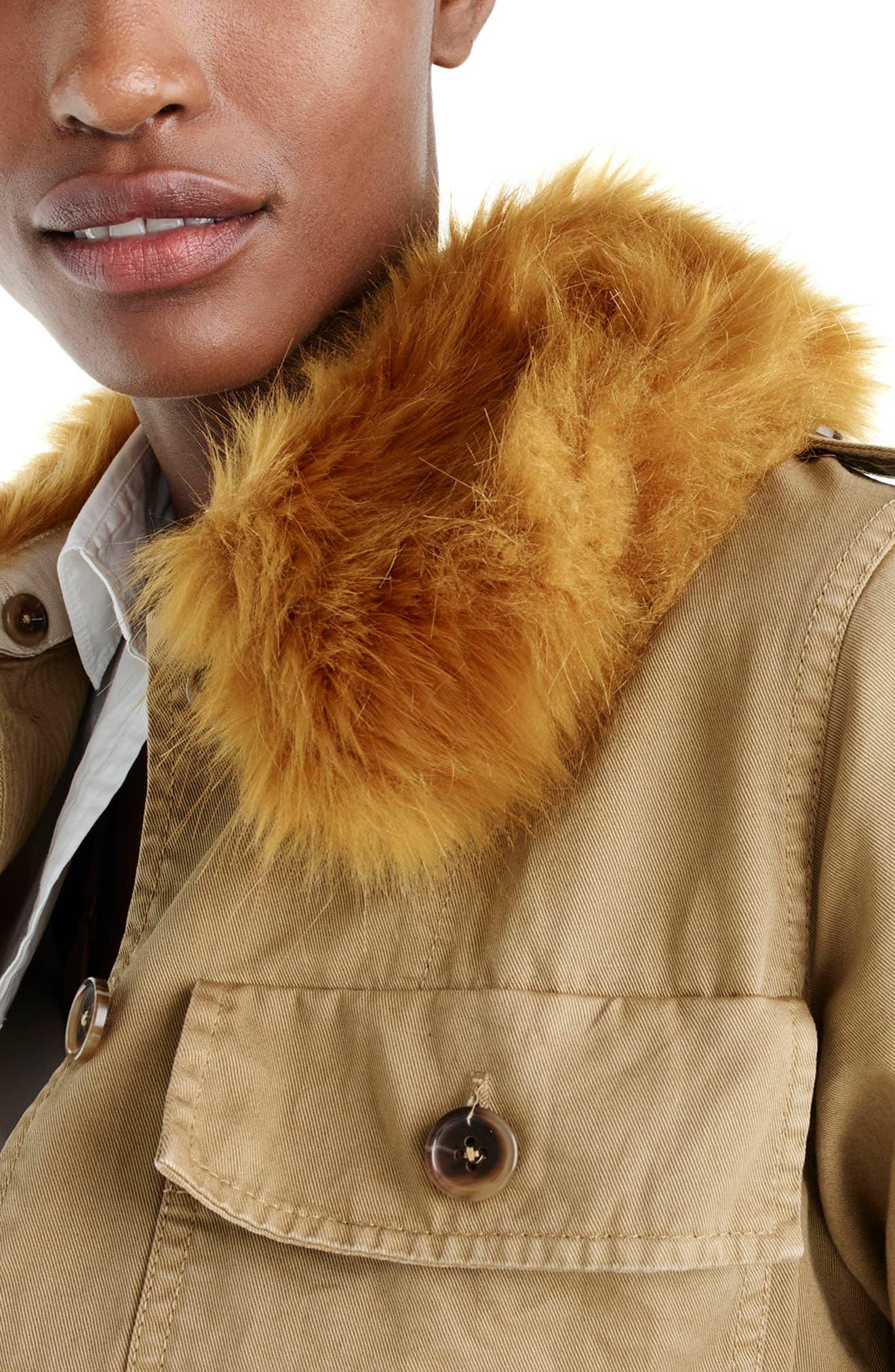Alternate Image 3  - J.Crew Peplum Chino Faux Fur Collar Jacket