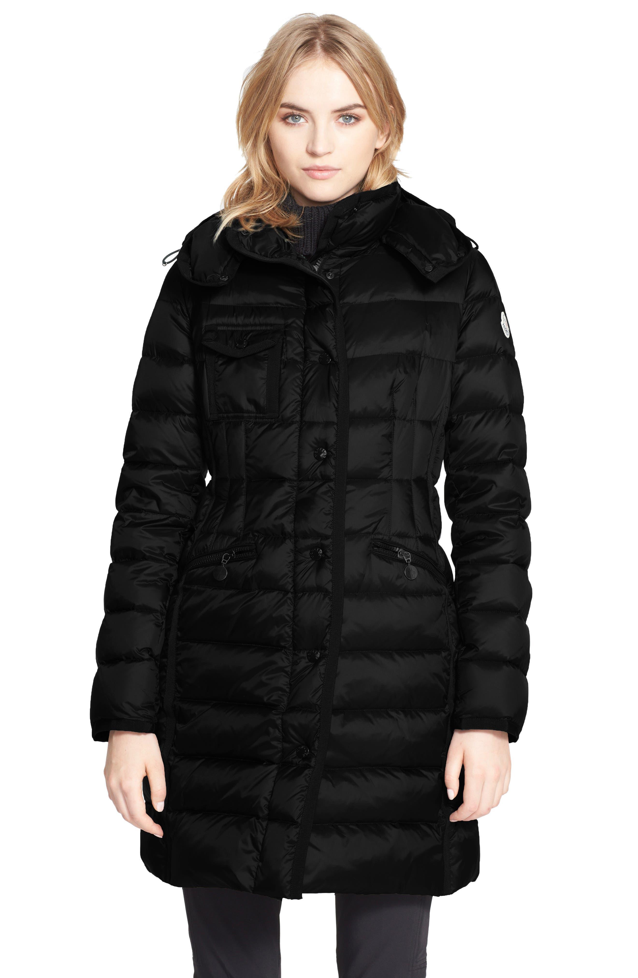 'Hermine' Grosgrain Trim Water Resistant Down Coat,                         Main,                         color, Black