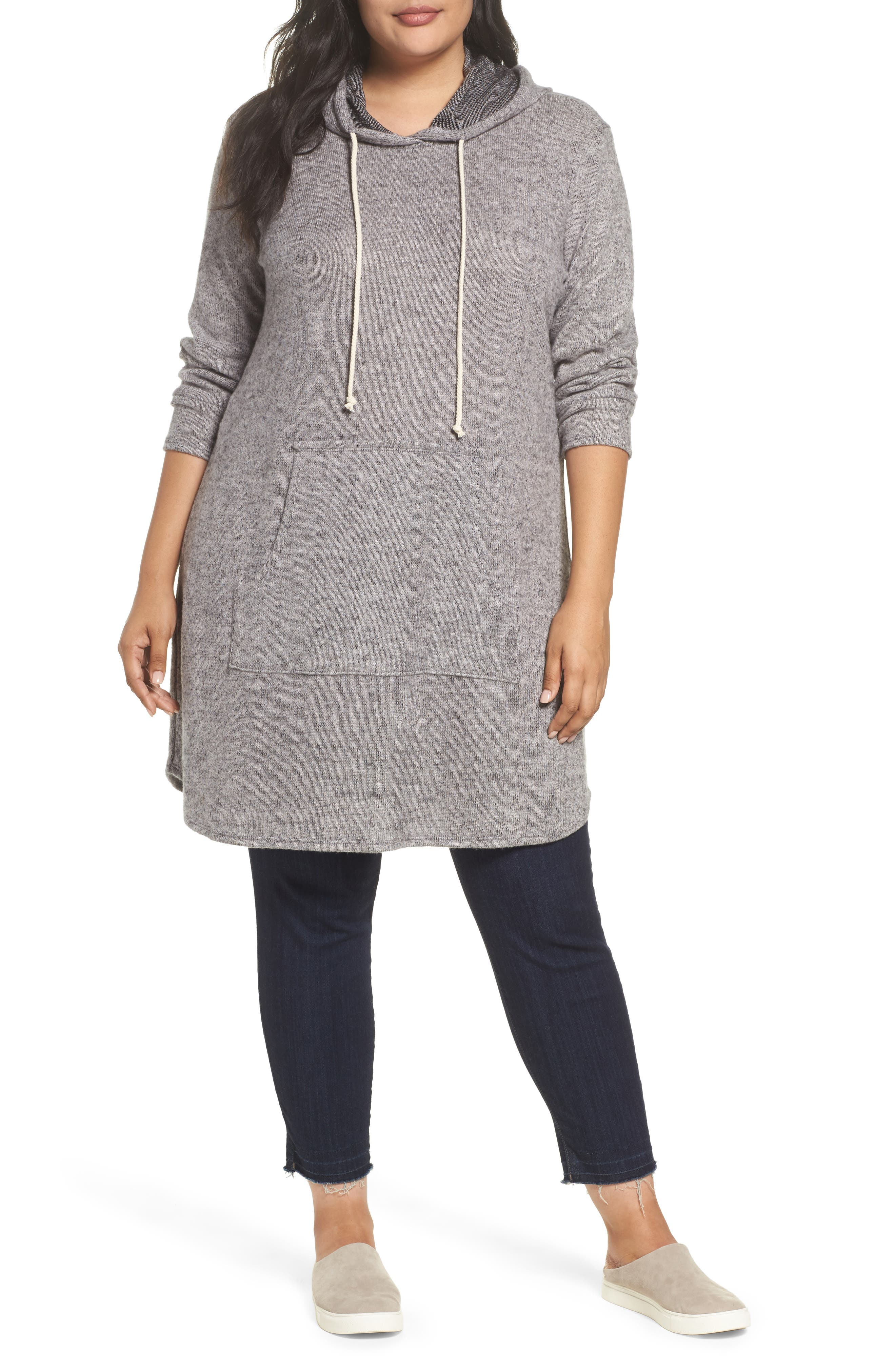 Hooded Knit Tunic,                             Main thumbnail 1, color,                             Light Grey