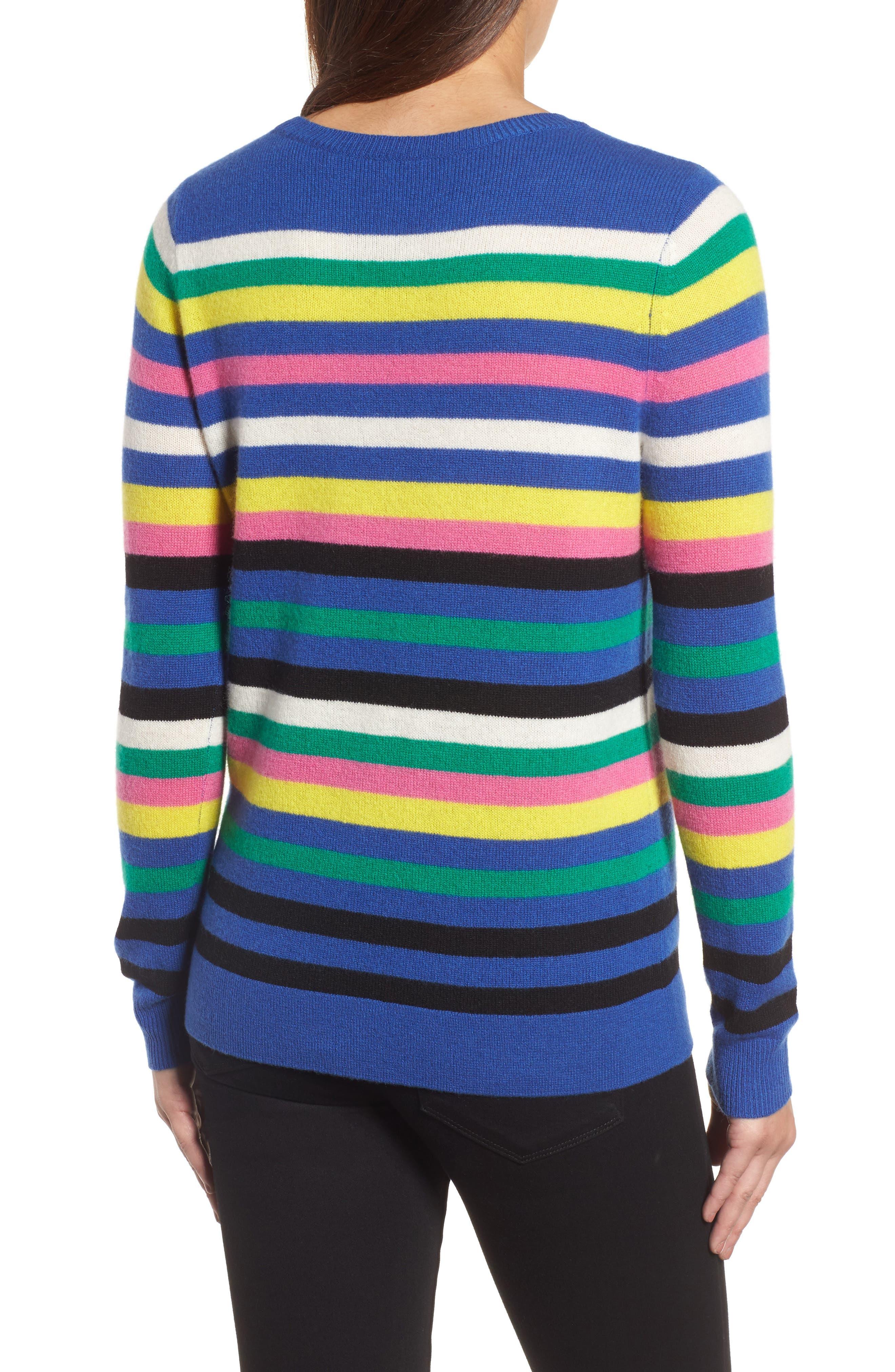 Alternate Image 2  - Halogen® Stripe Cashmere Sweater (Regular & Petite)