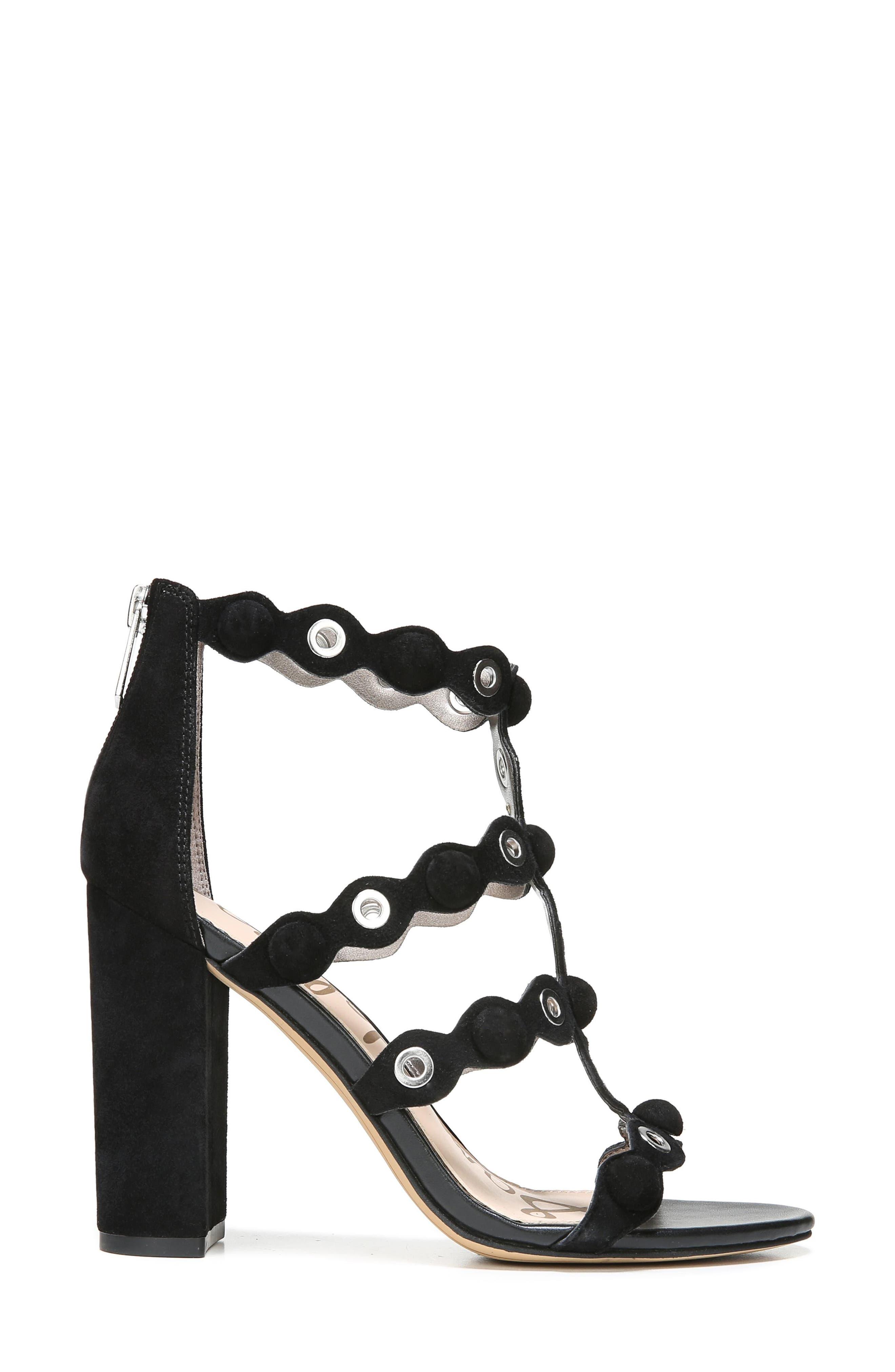 Yuli Grommet Sandal,                             Alternate thumbnail 3, color,                             Black Leather