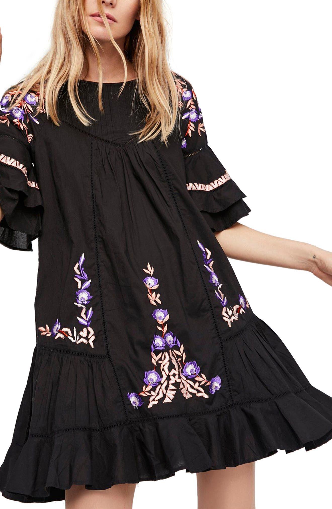Pavlo Babydoll Dress,                             Main thumbnail 1, color,                             Black